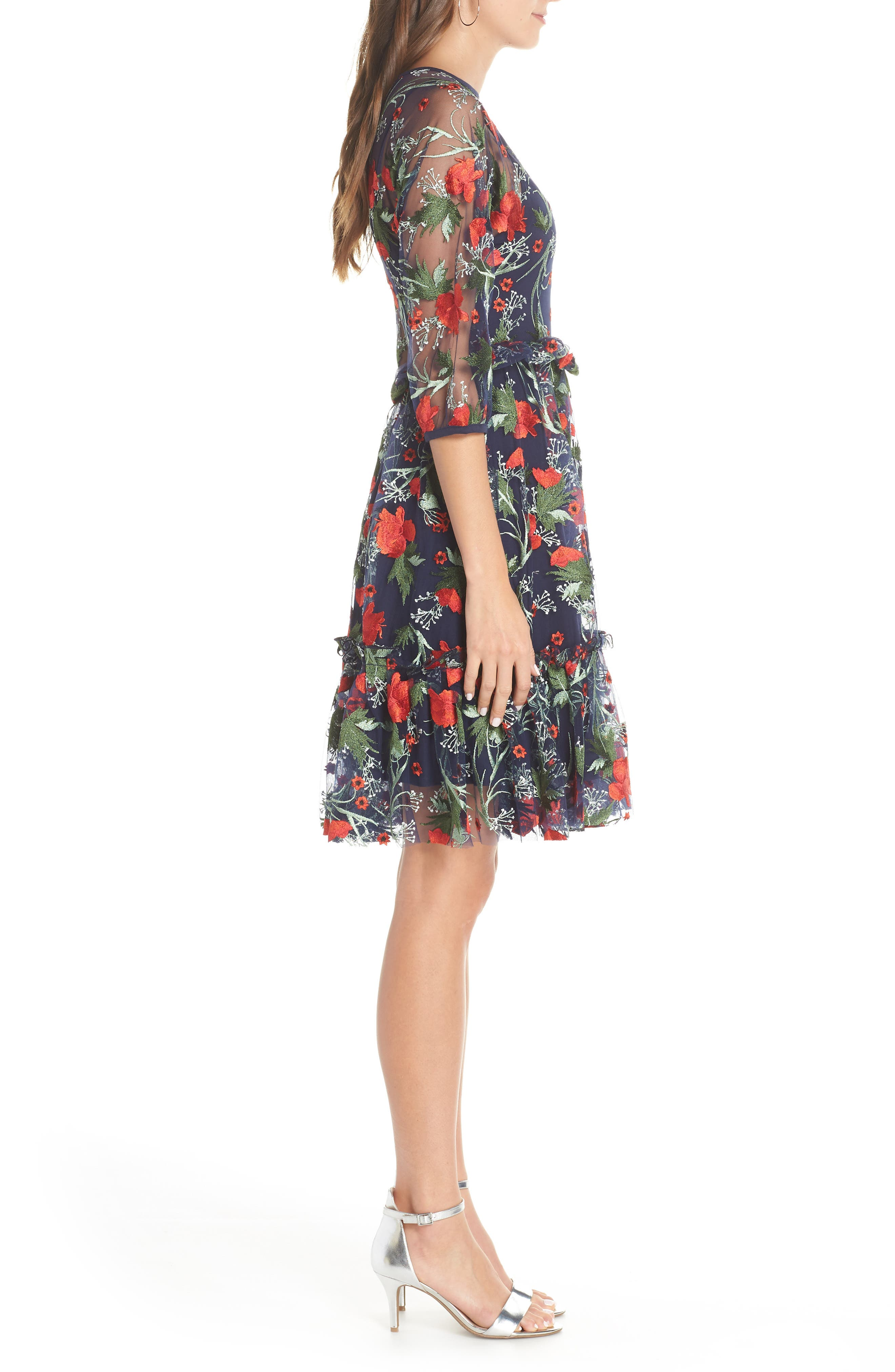 1901,                             Embroidered Mesh Fit & Flare Dress,                             Alternate thumbnail 3, color,                             RED FLORAL