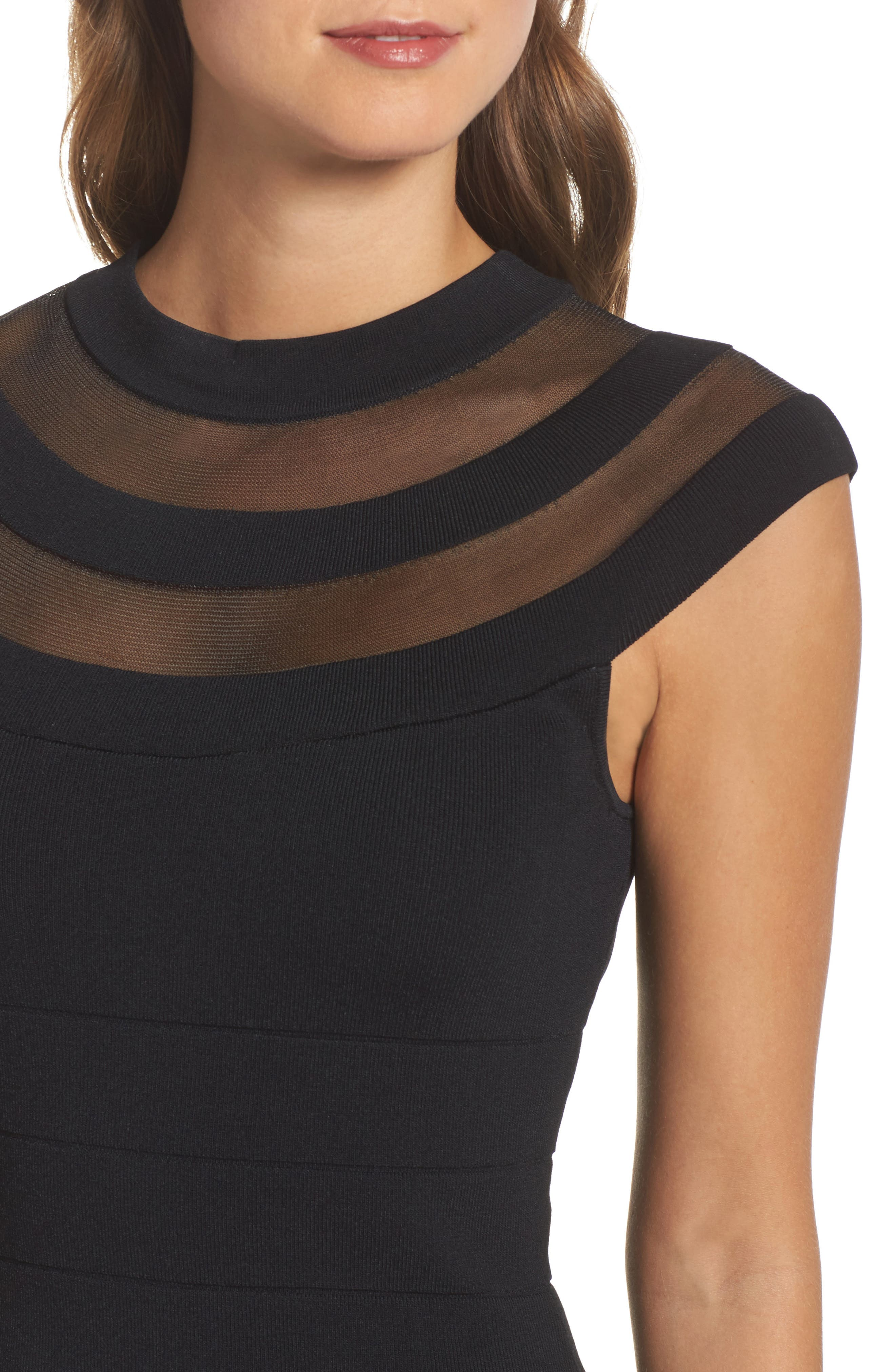 Illusion Mesh Body-Con Dress,                             Alternate thumbnail 4, color,                             001
