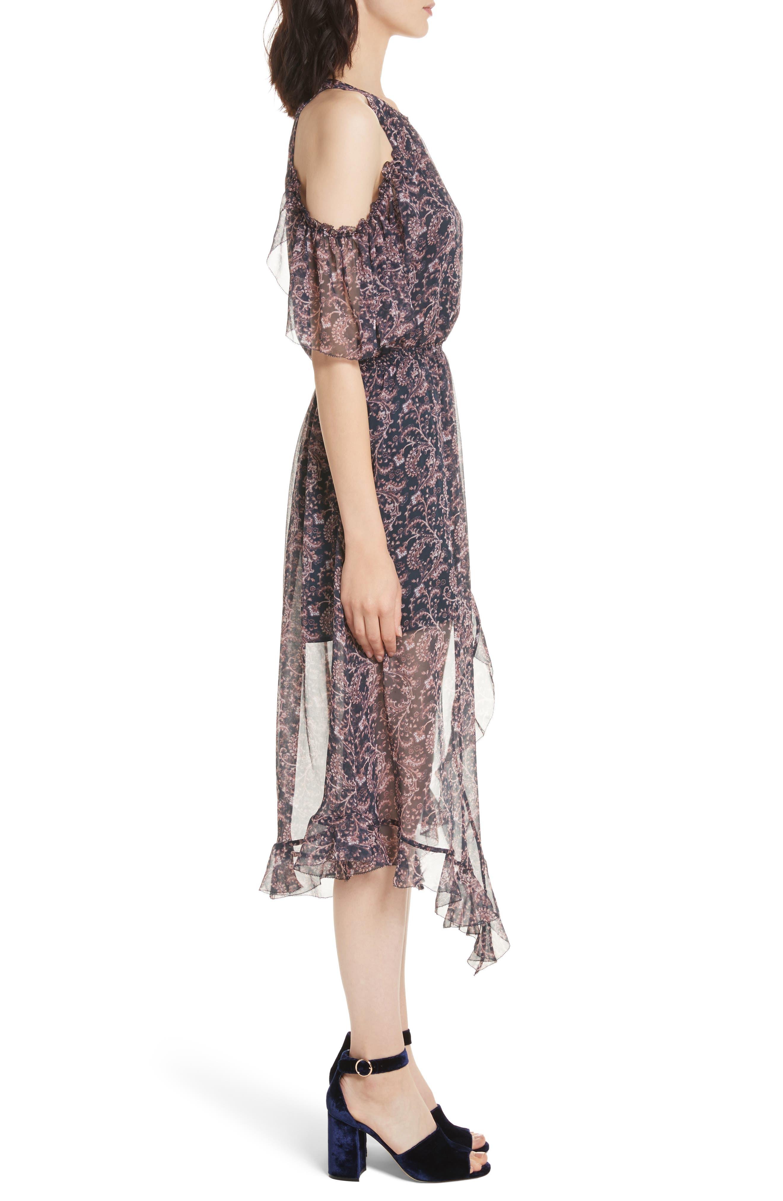 Agnek Cold Shoulder Silk Dress,                             Alternate thumbnail 3, color,                             694