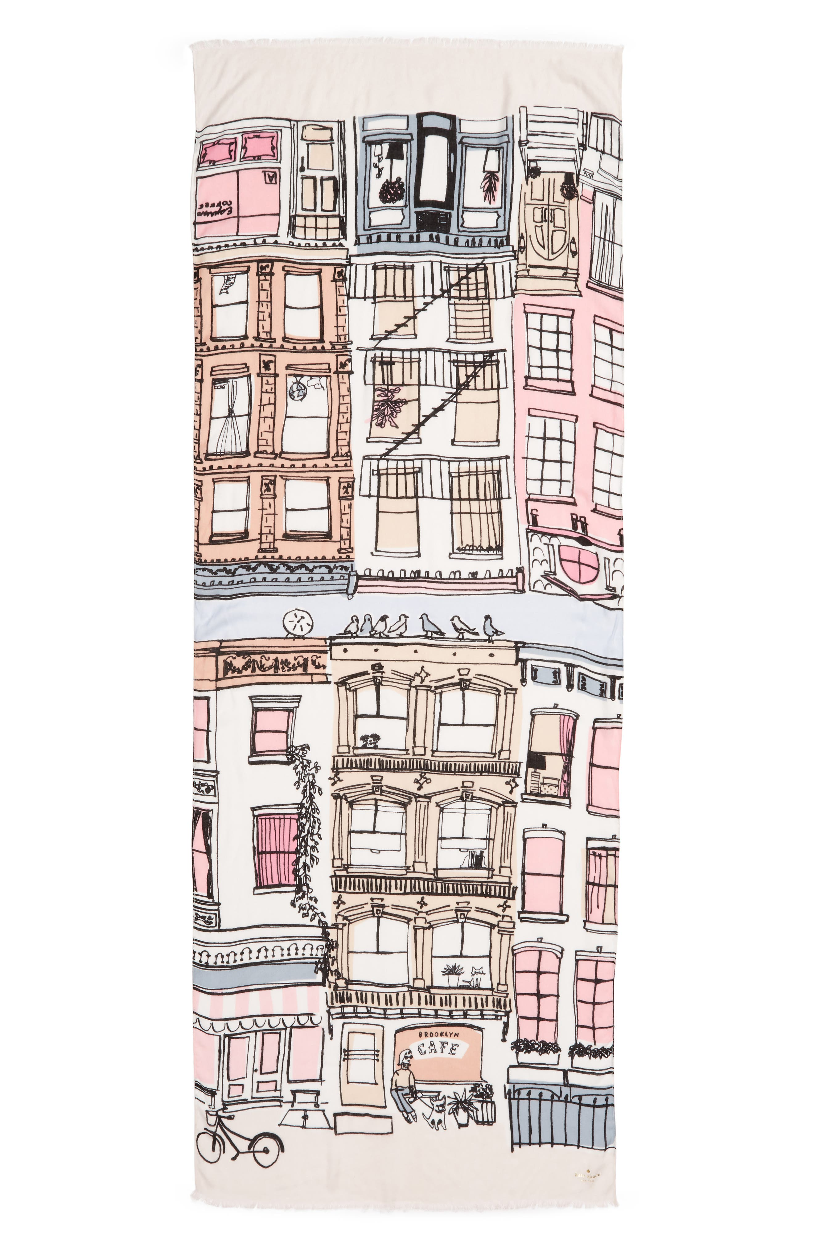 KATE SPADE NEW YORK,                             brooklyn scene scarf,                             Alternate thumbnail 3, color,                             CREAM