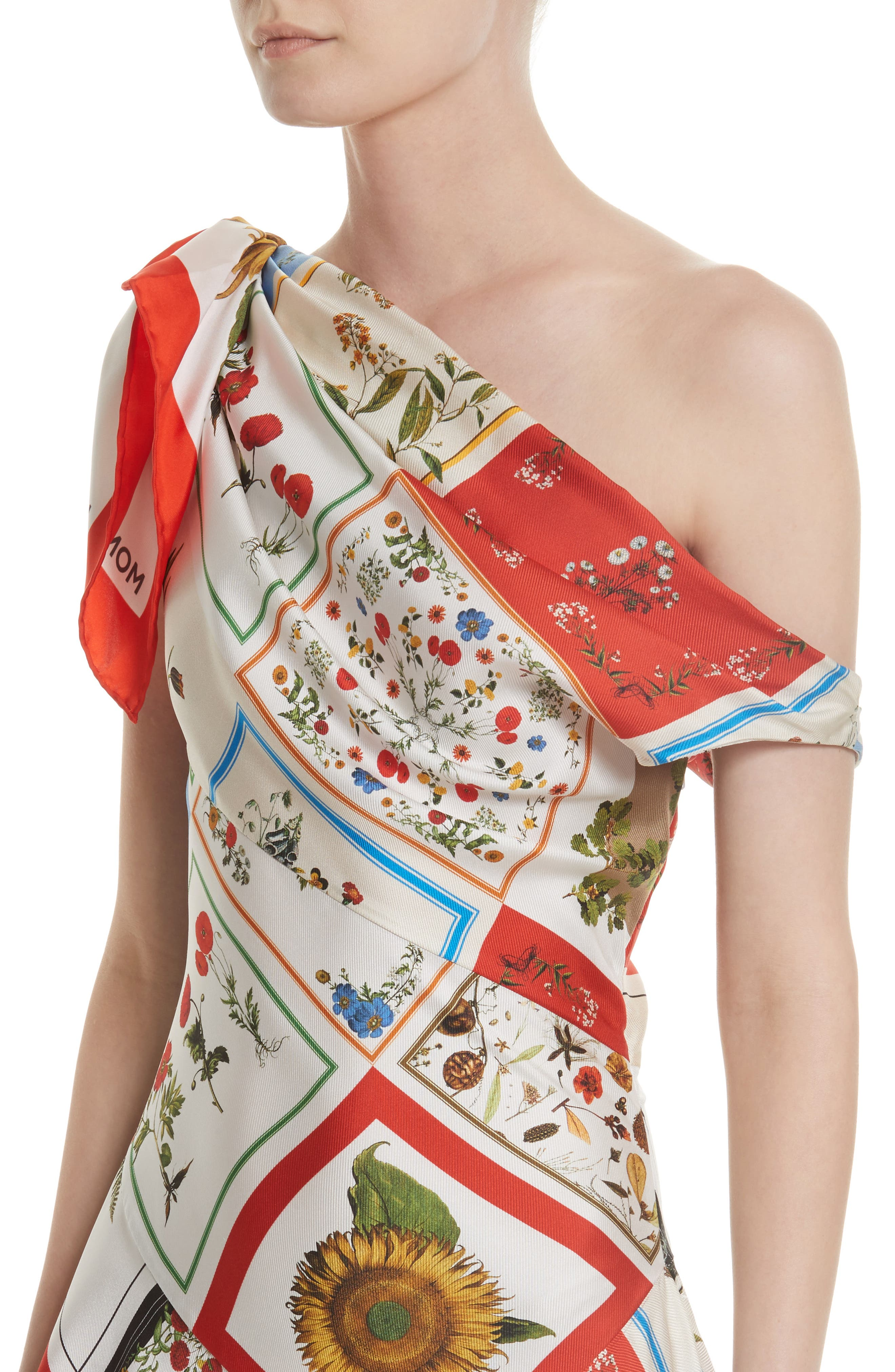 Patchwork Silk One-Shoulder Dress,                             Alternate thumbnail 4, color,                             908