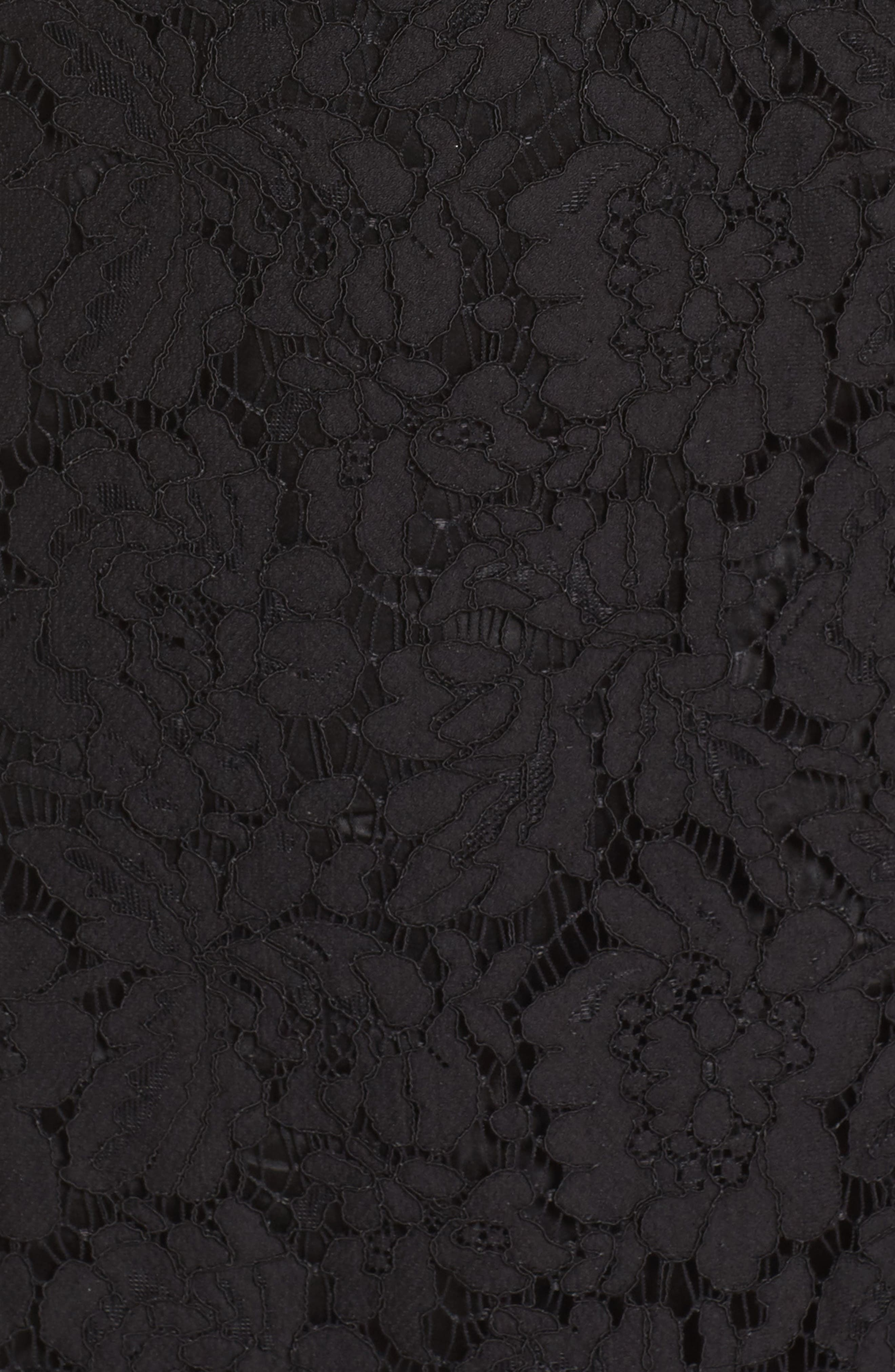 Lace Fit & Flare Cocktail Dress,                             Alternate thumbnail 7, color,                             BLACK