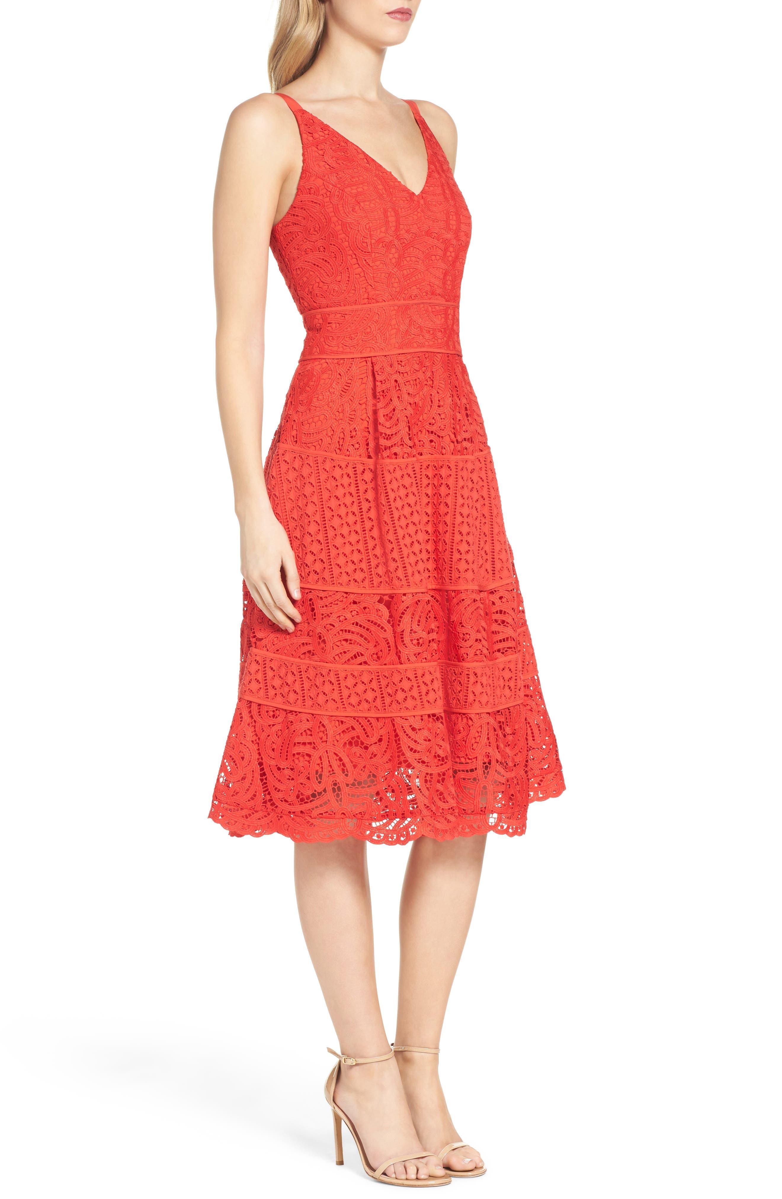 Fit & Flare Midi Dress,                             Alternate thumbnail 12, color,
