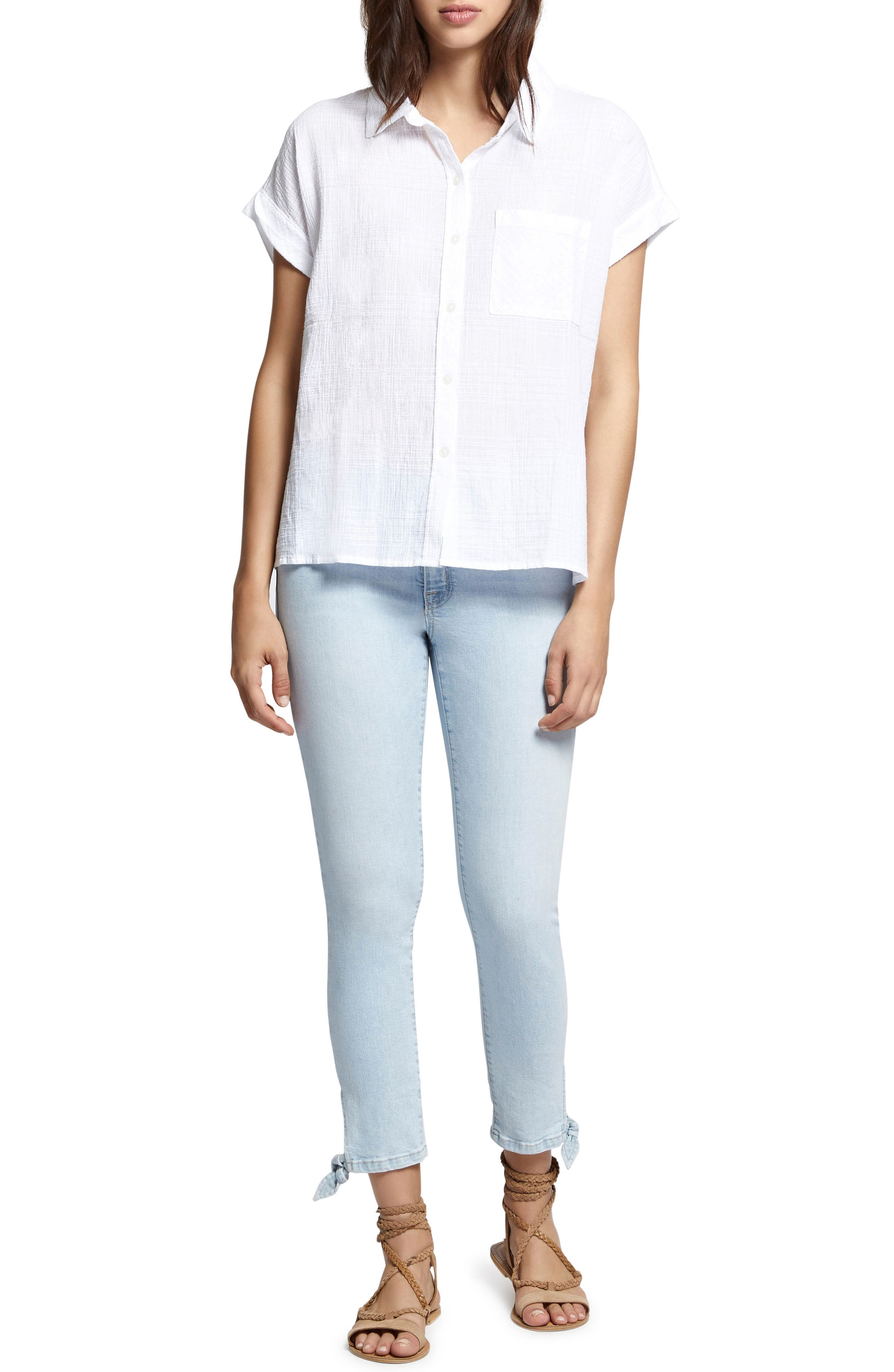 Mod Short Sleeve Boyfriend Shirt,                             Alternate thumbnail 4, color,                             114