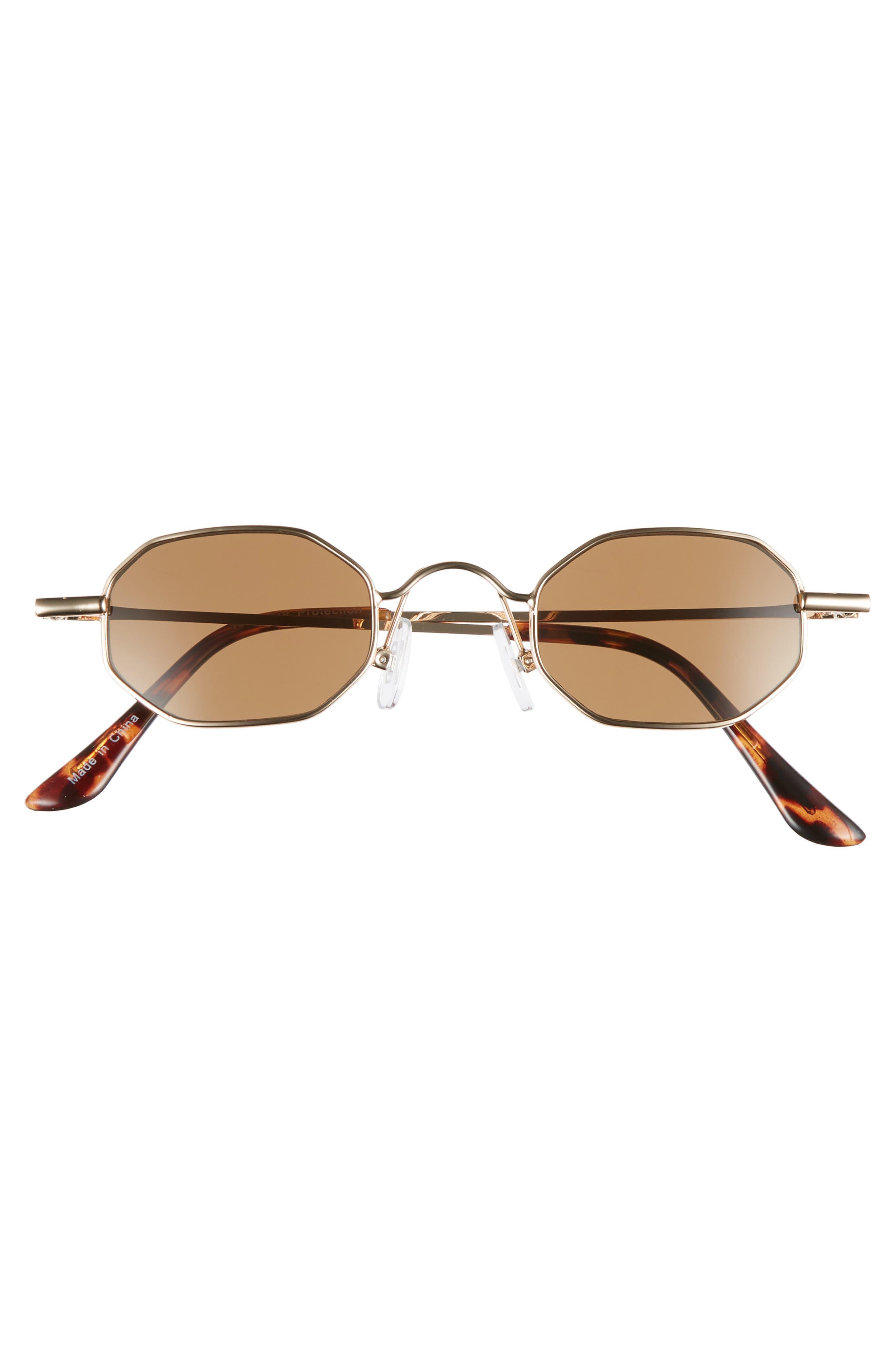 40mm Mini Hexagon Sunglasses,                             Alternate thumbnail 3, color,                             BROWN GOLD