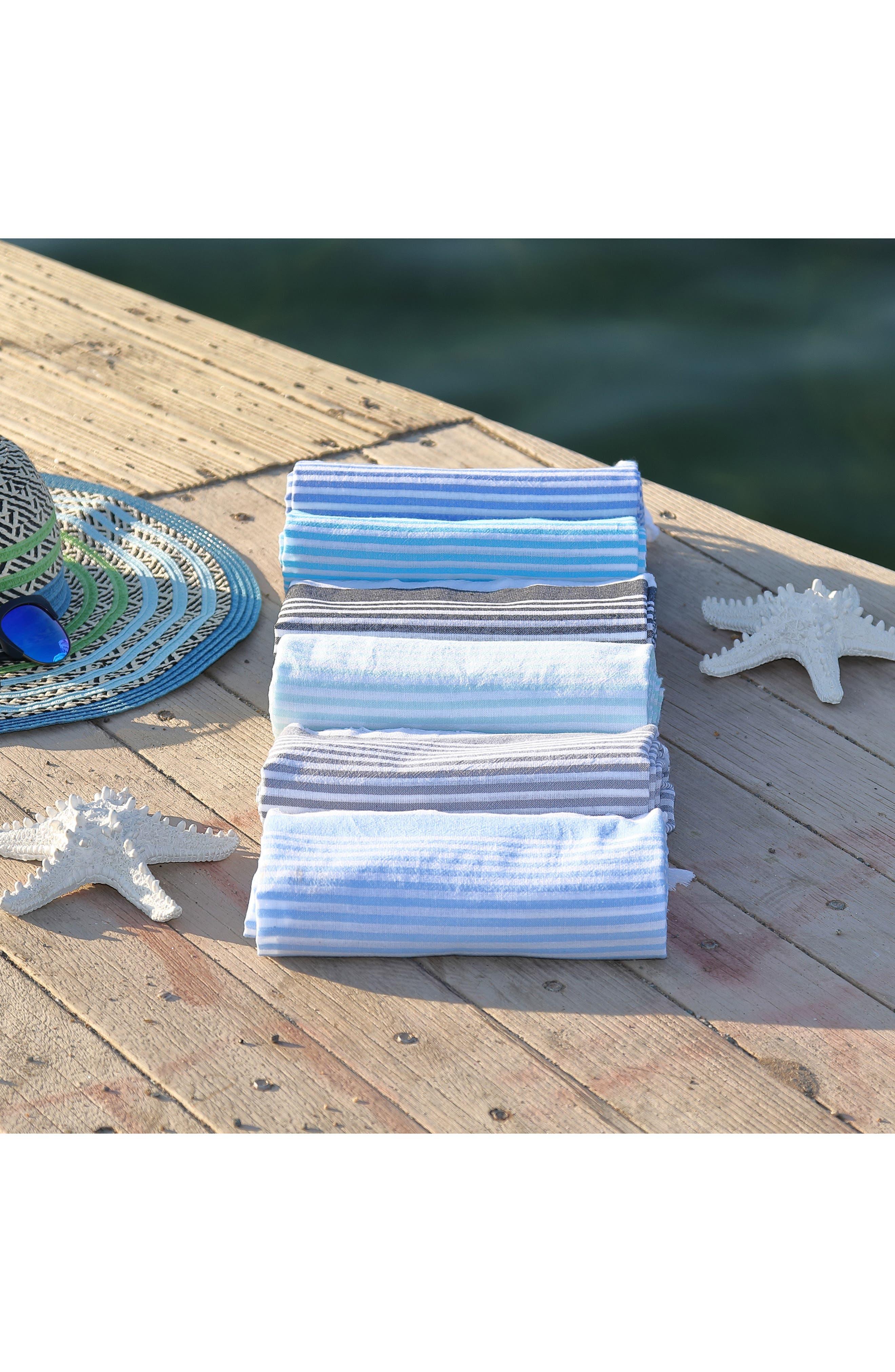 Soft Stripes Turkish Pestemal Towel,                             Alternate thumbnail 9, color,                             BLACK