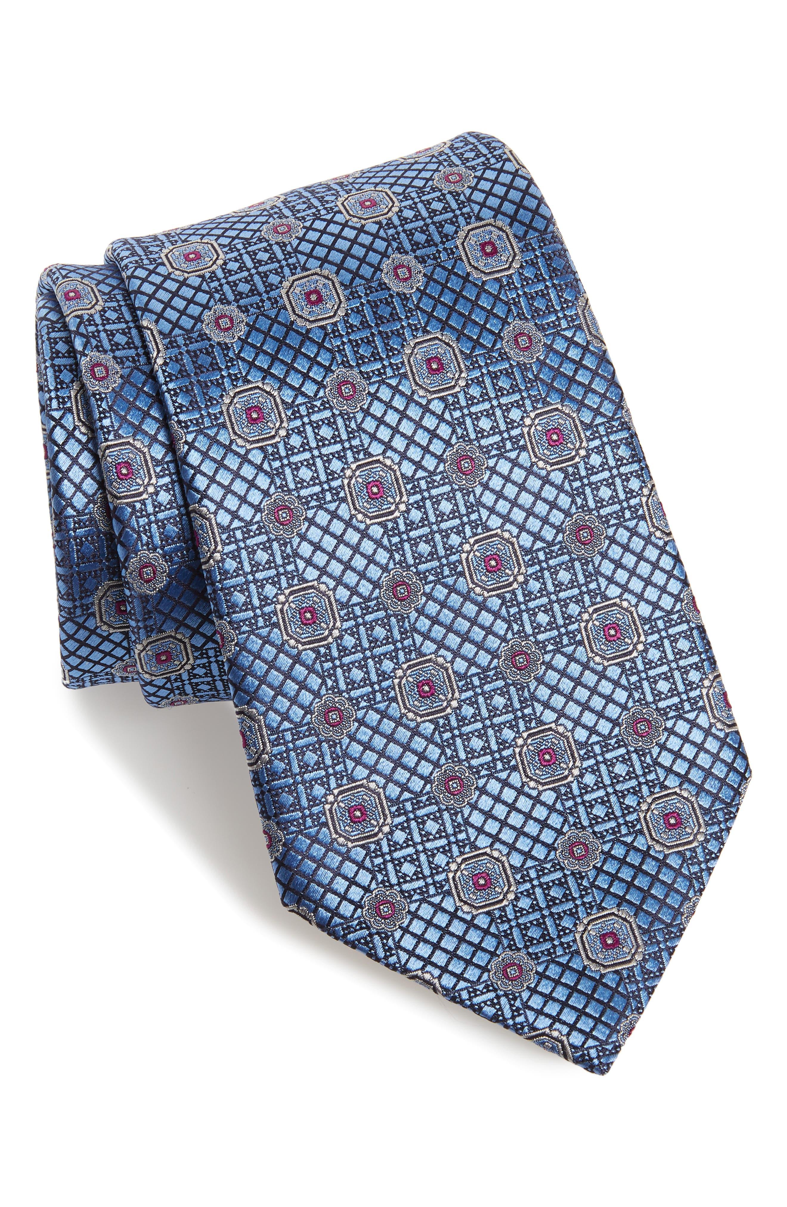 Geometric Silk Tie,                         Main,                         color, BLUE