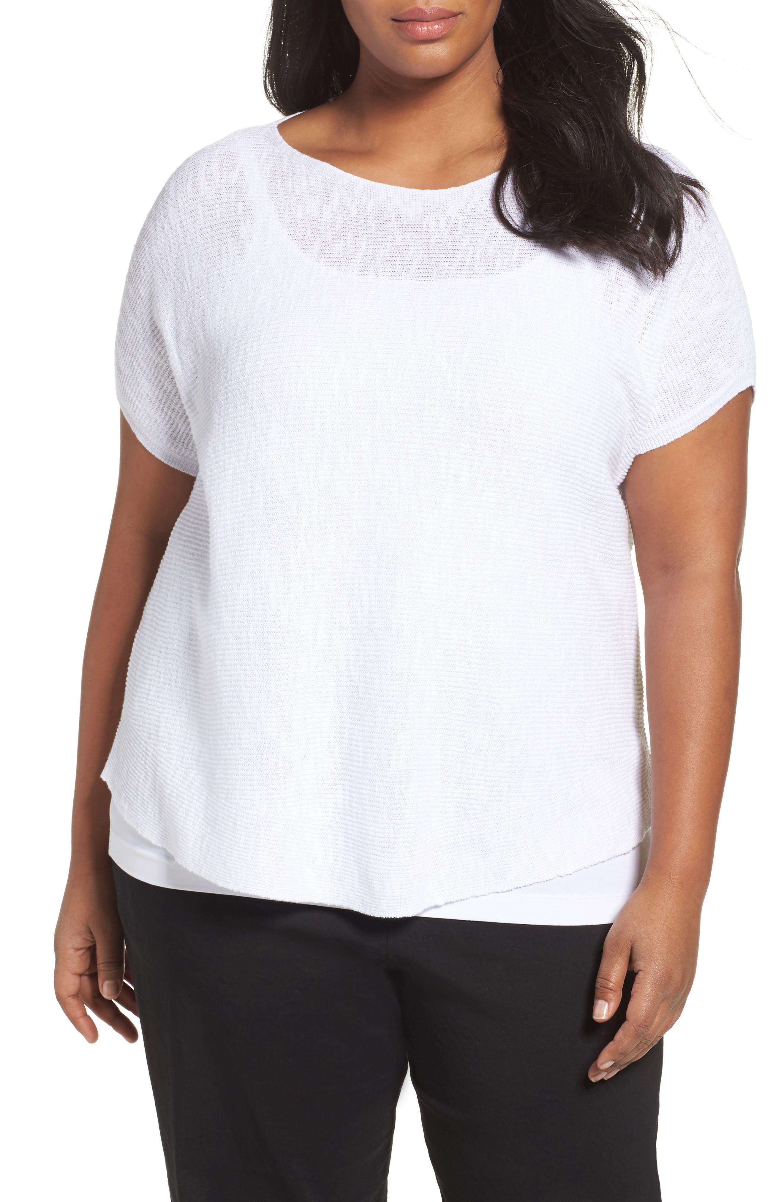 Organic Linen & Cotton Rib Sweater,                         Main,                         color, 100