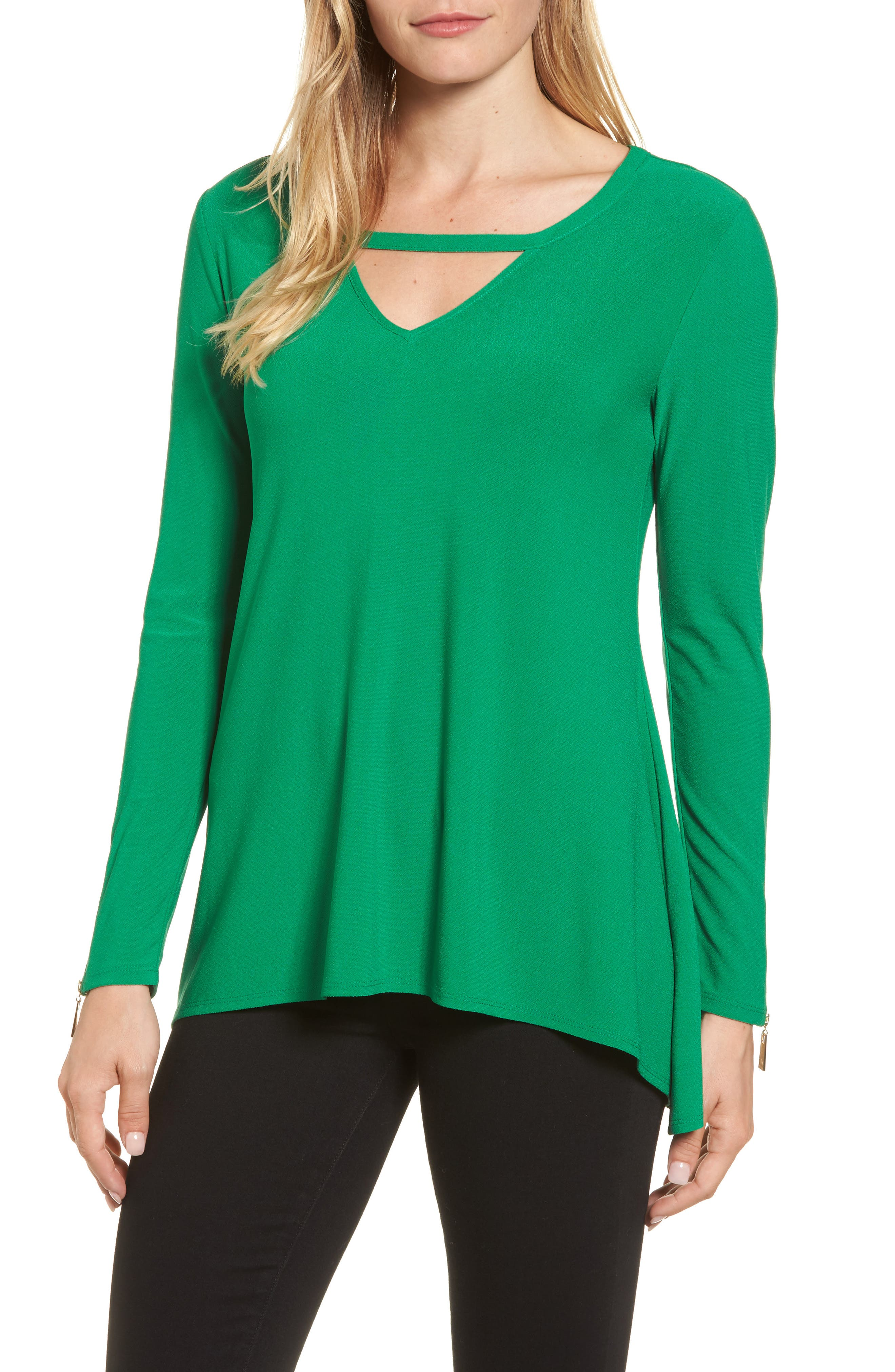 Zip Cuff Crepe Knit Top,                         Main,                         color,