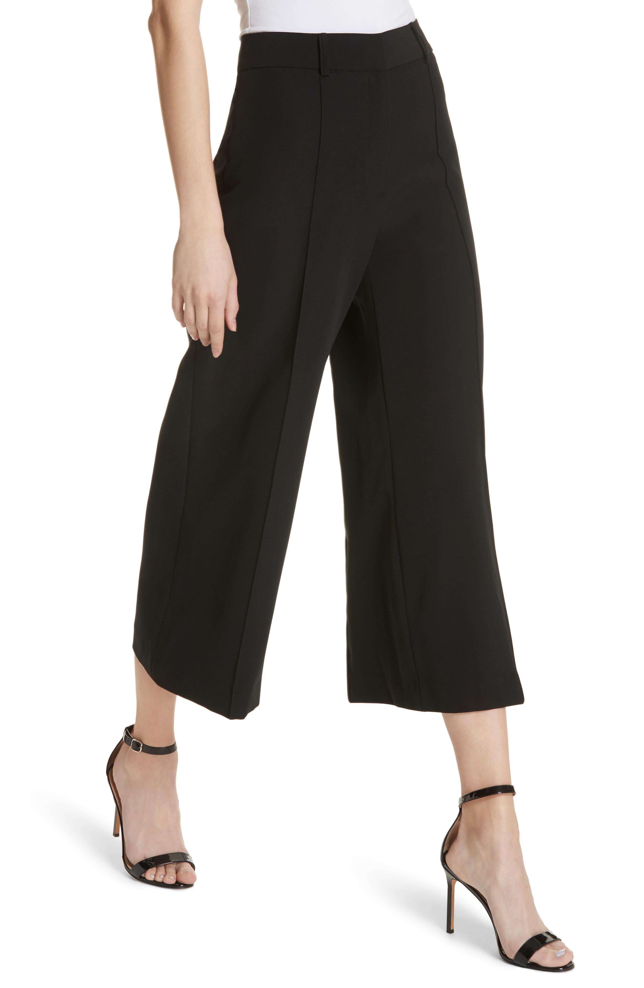 Hayden Crop Wide Leg Pants,                             Alternate thumbnail 4, color,                             BLACK