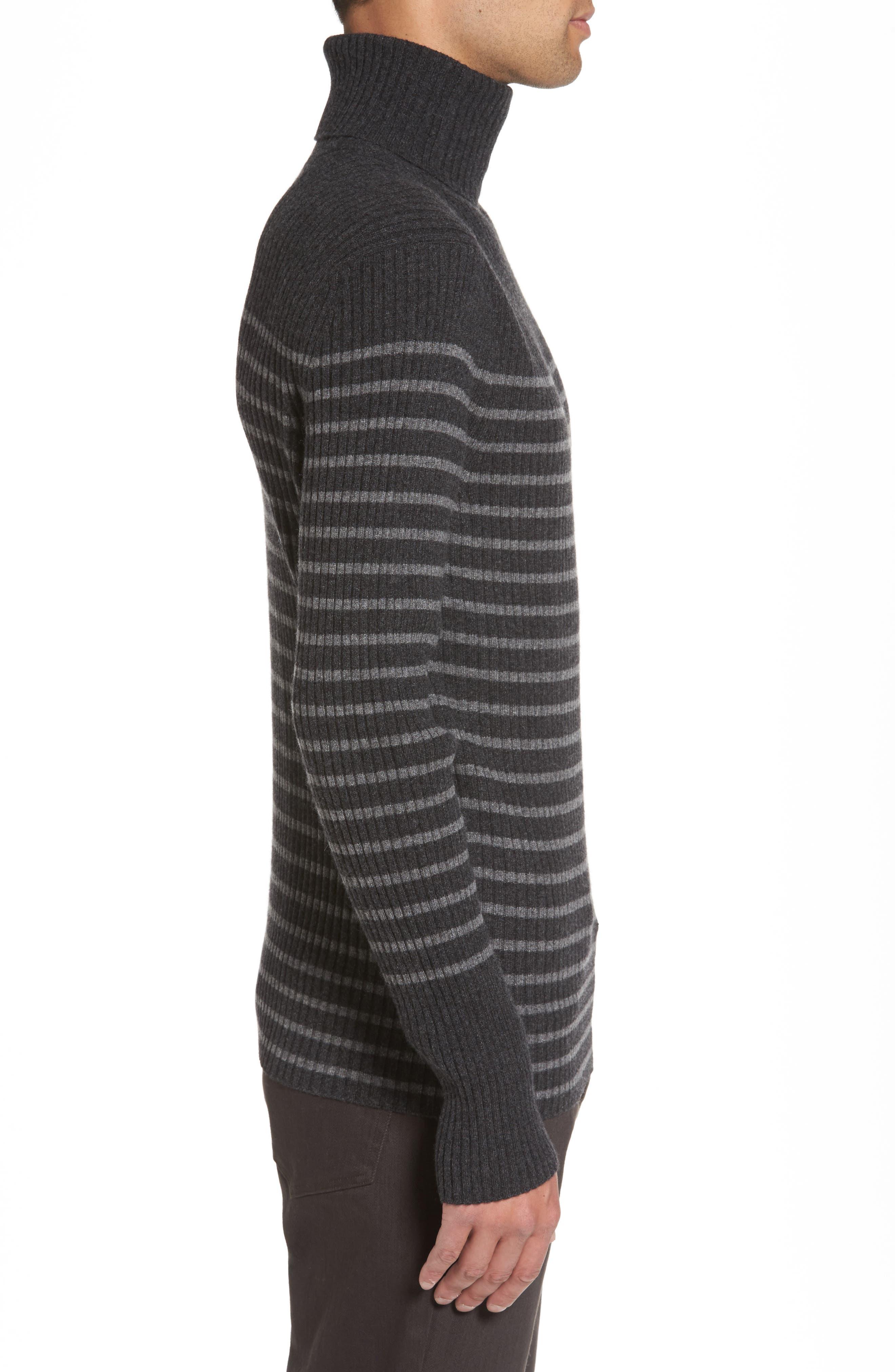 Regular Fit Breton Stripe Cashmere Turtleneck Sweater,                             Alternate thumbnail 5, color,