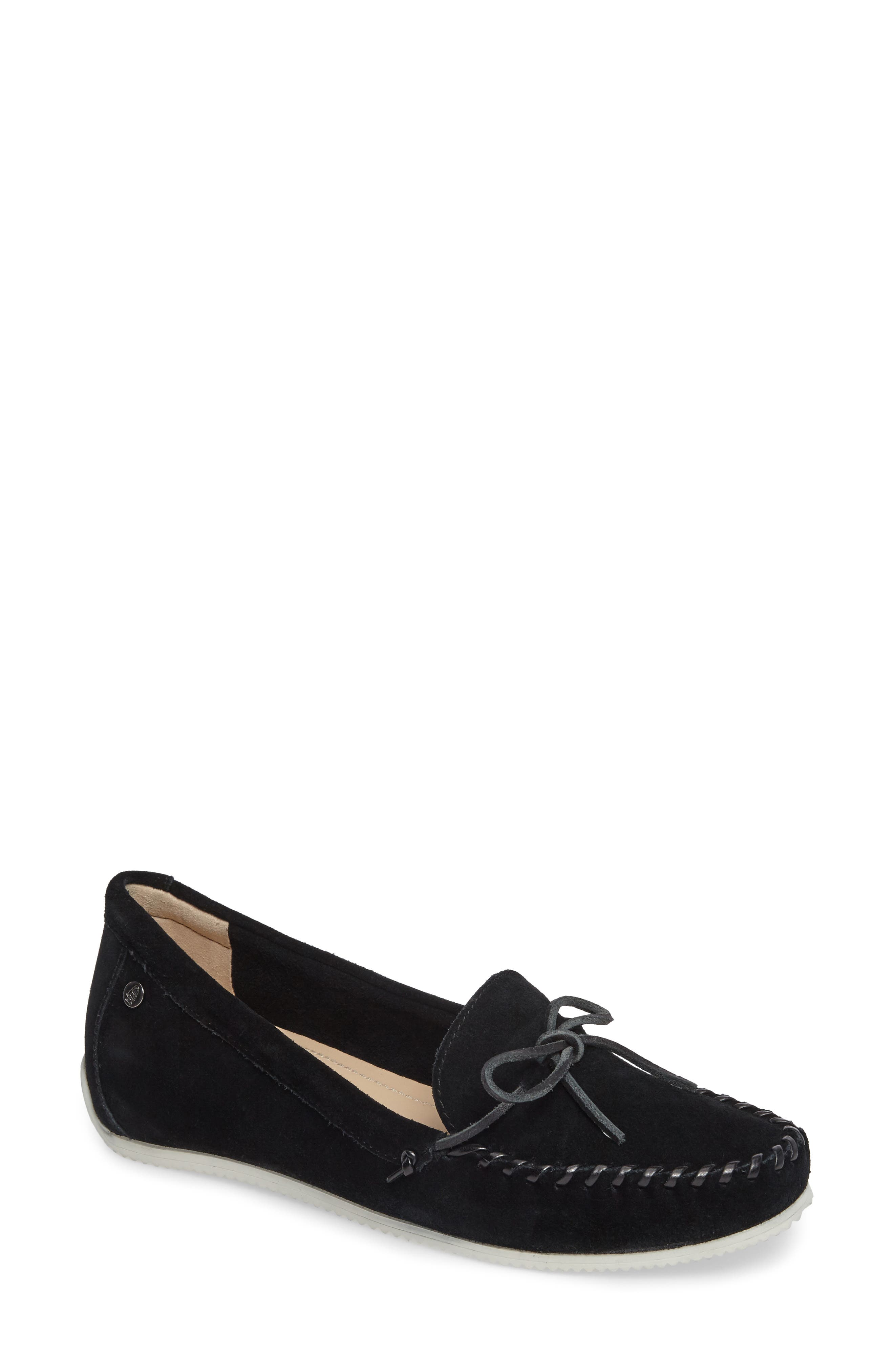 Larghetto Carine Concealed Wedge Moccasin,                             Main thumbnail 1, color,                             BLACK SUEDE