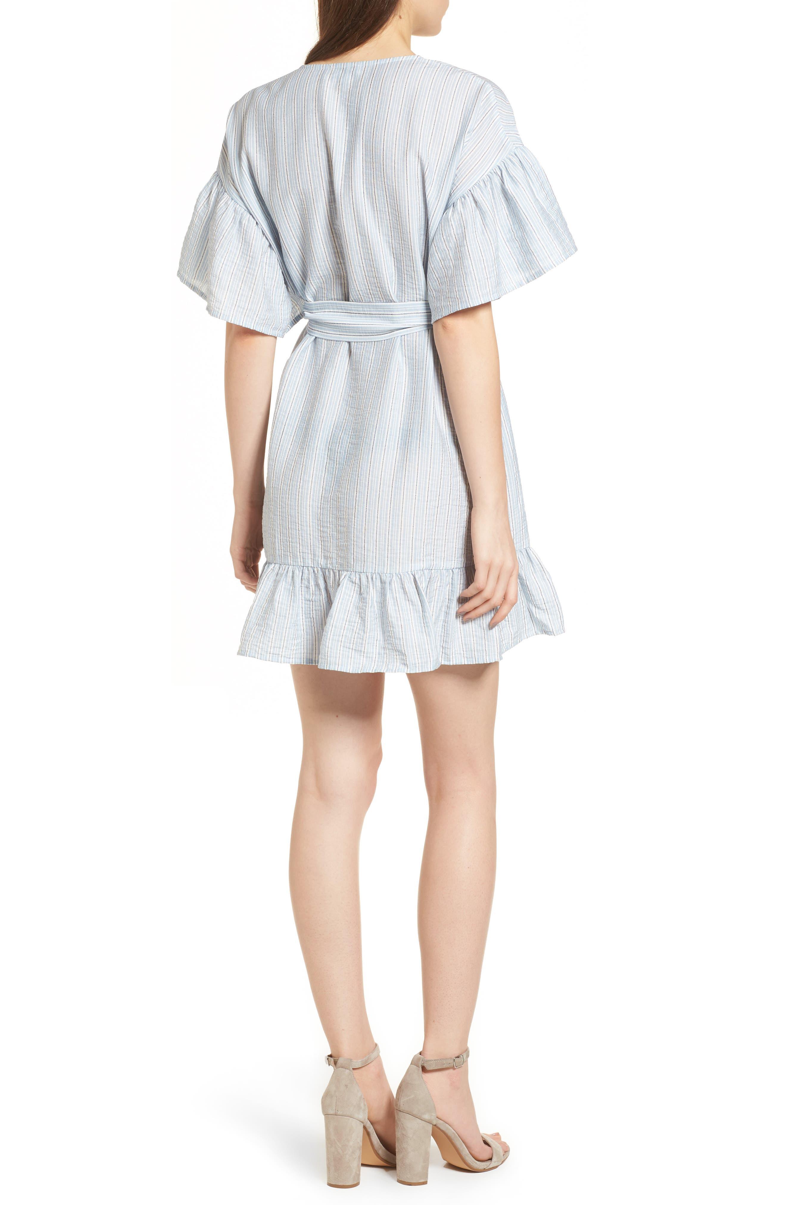 Stripe Ruffle Wrap Dress,                             Alternate thumbnail 2, color,                             400