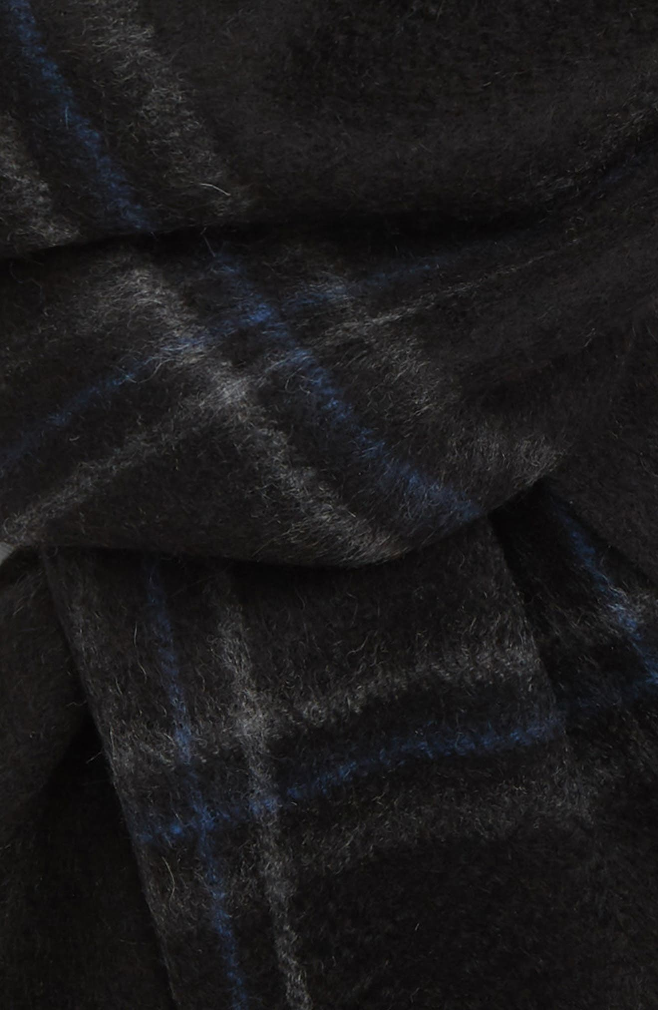 Double Grid Cashmere Scarf,                             Alternate thumbnail 3, color,                             BLACK