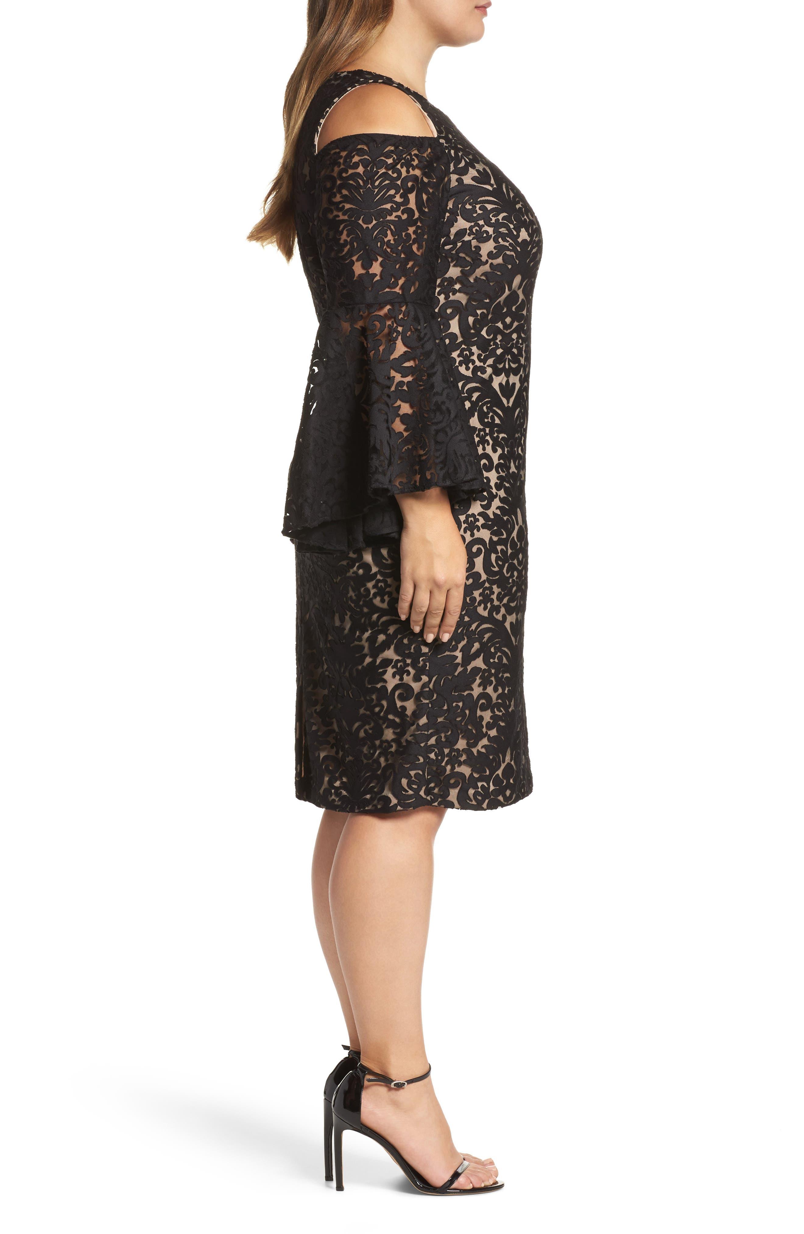 Lace Bell Sleeve Sheath Dress,                             Alternate thumbnail 3, color,                             012