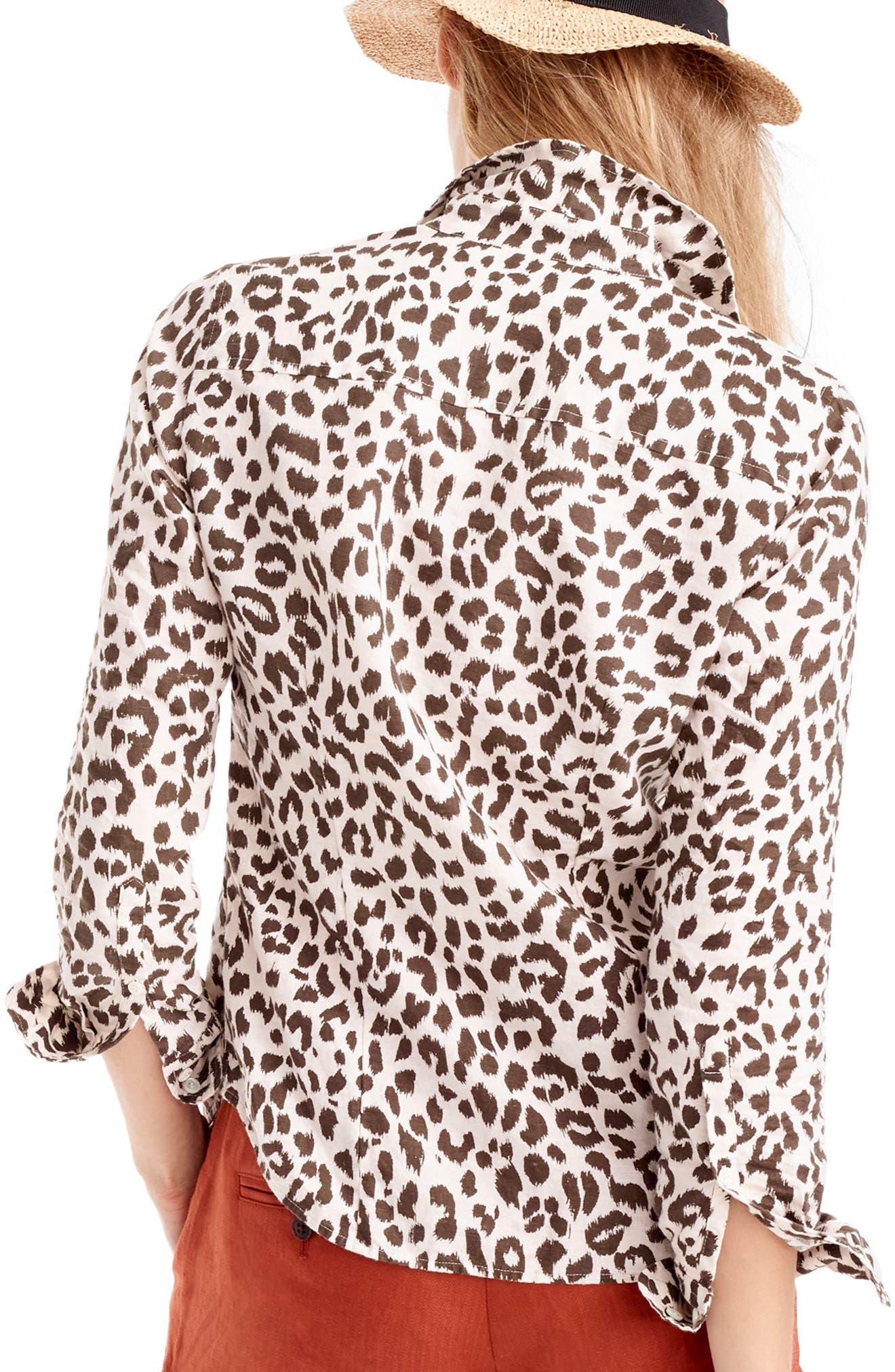 J.CREW,                             Perfect Leopard Print Linen & Coton Shirt,                             Alternate thumbnail 2, color,                             900