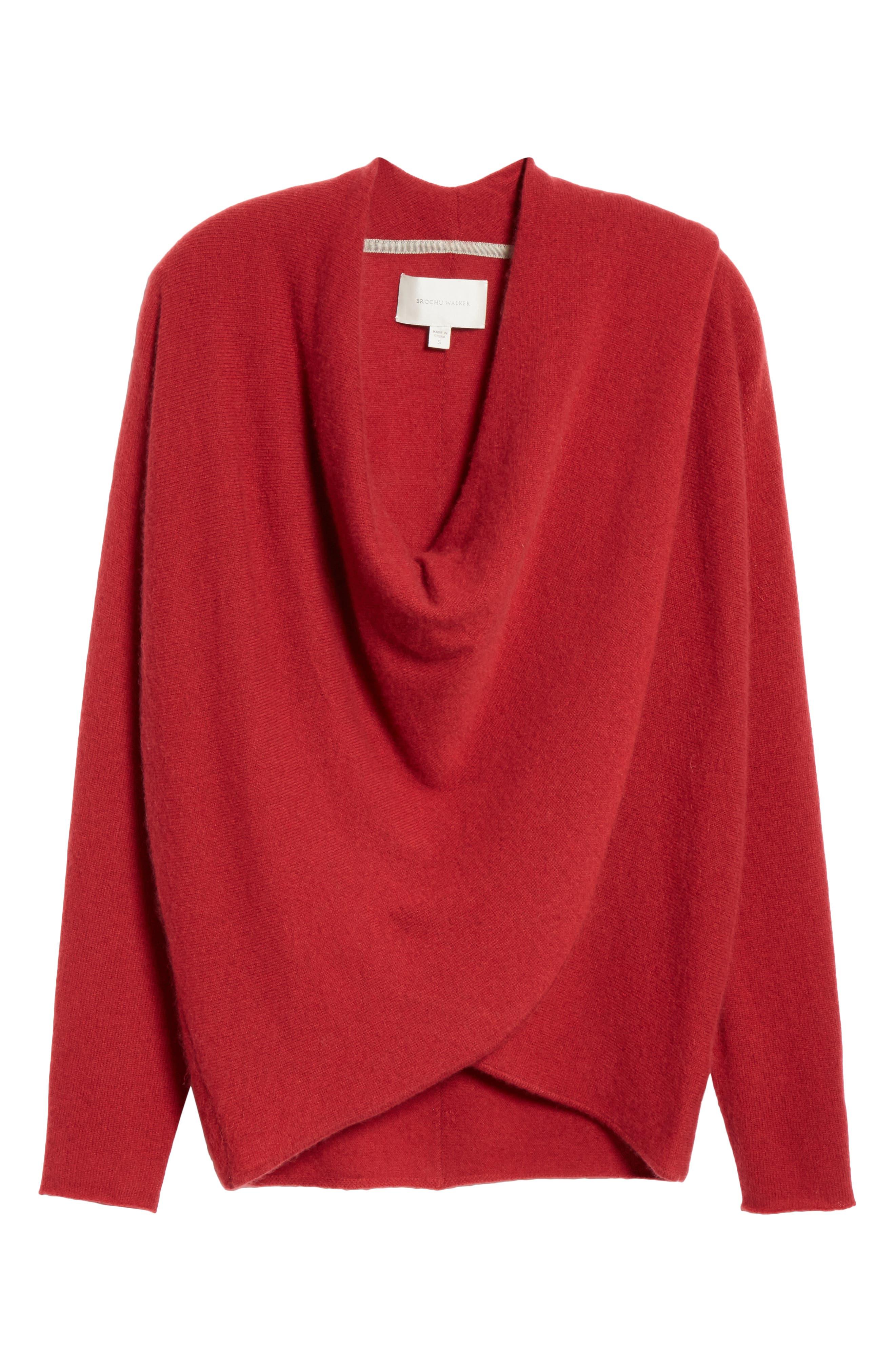 BROCHU WALKER,                             Clea Cashmere Wrap Sweater,                             Alternate thumbnail 6, color,                             TANGIER