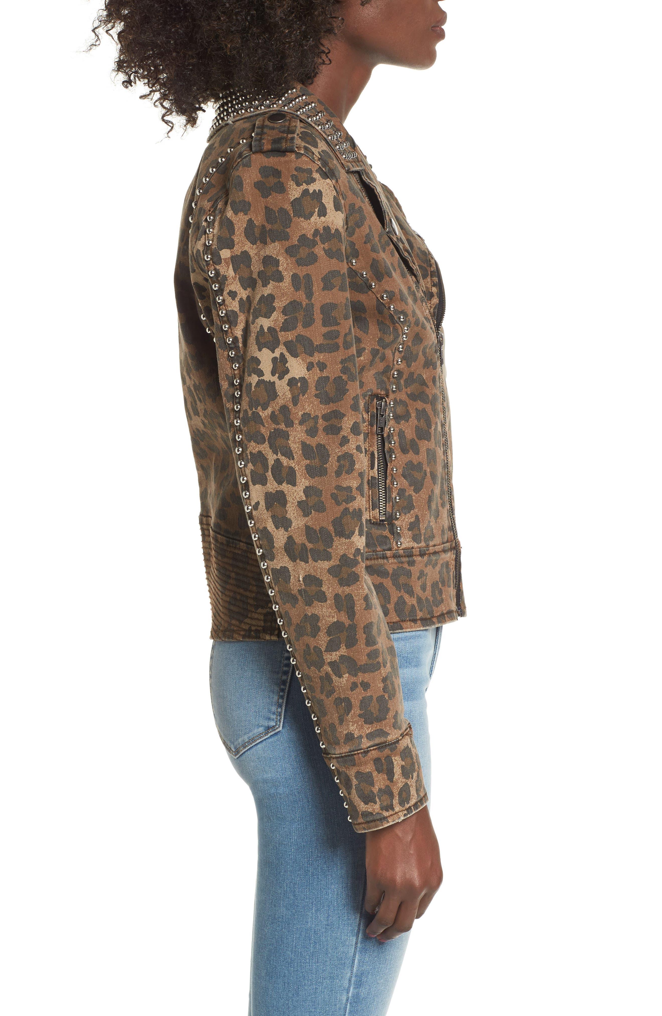 Studded Leopard Print Moto Jacket,                             Alternate thumbnail 3, color,                             200