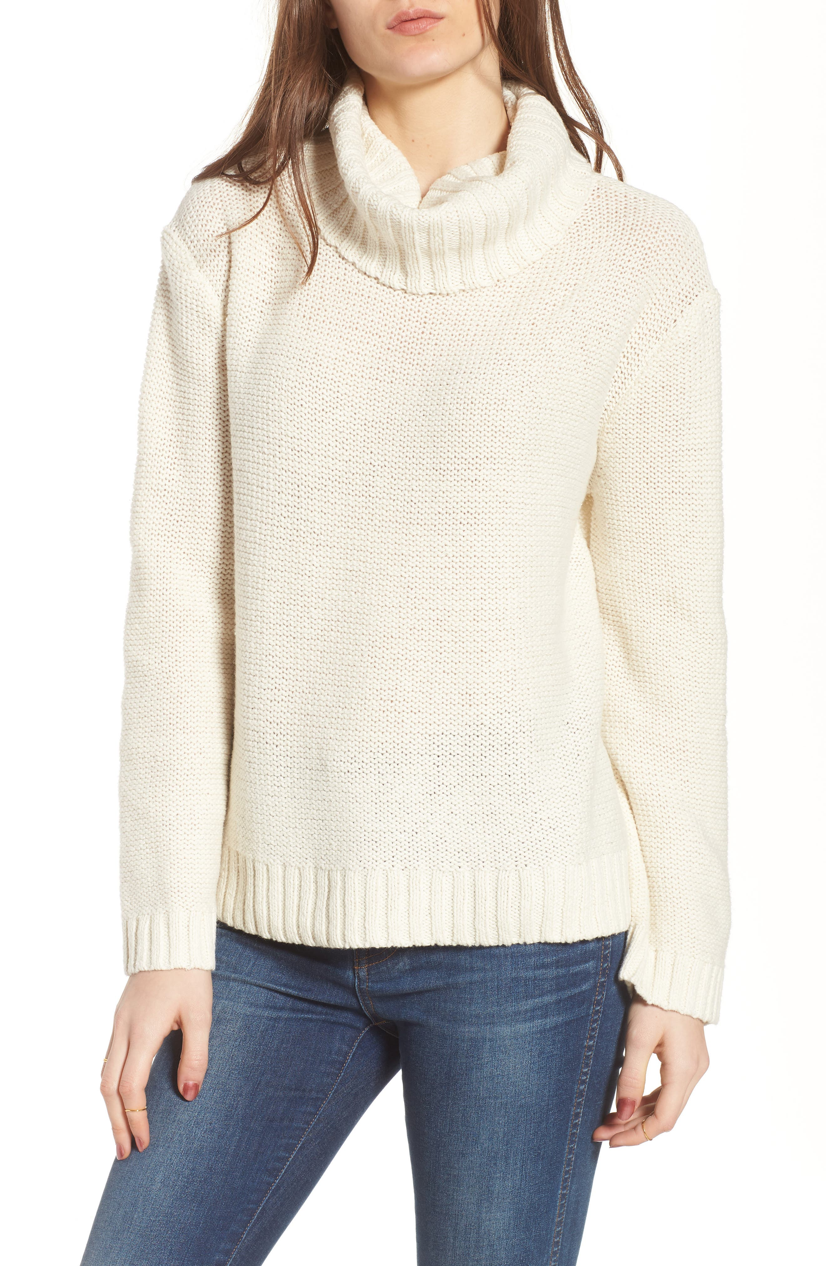 Flecked Turtleneck Sweater,                             Main thumbnail 1, color,                             100