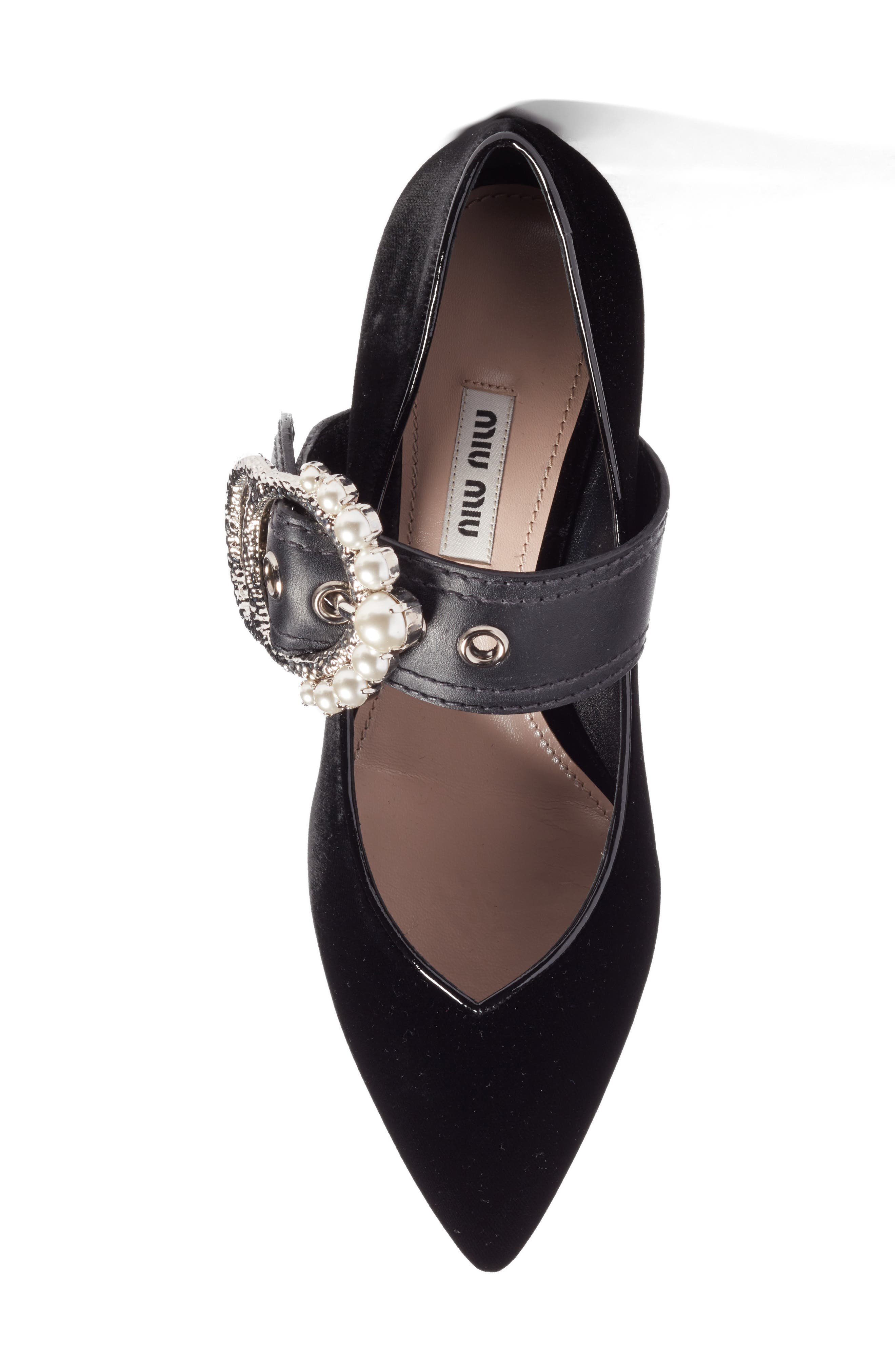 Embellished Buckle Pointy Toe Pump,                             Alternate thumbnail 5, color,                             001