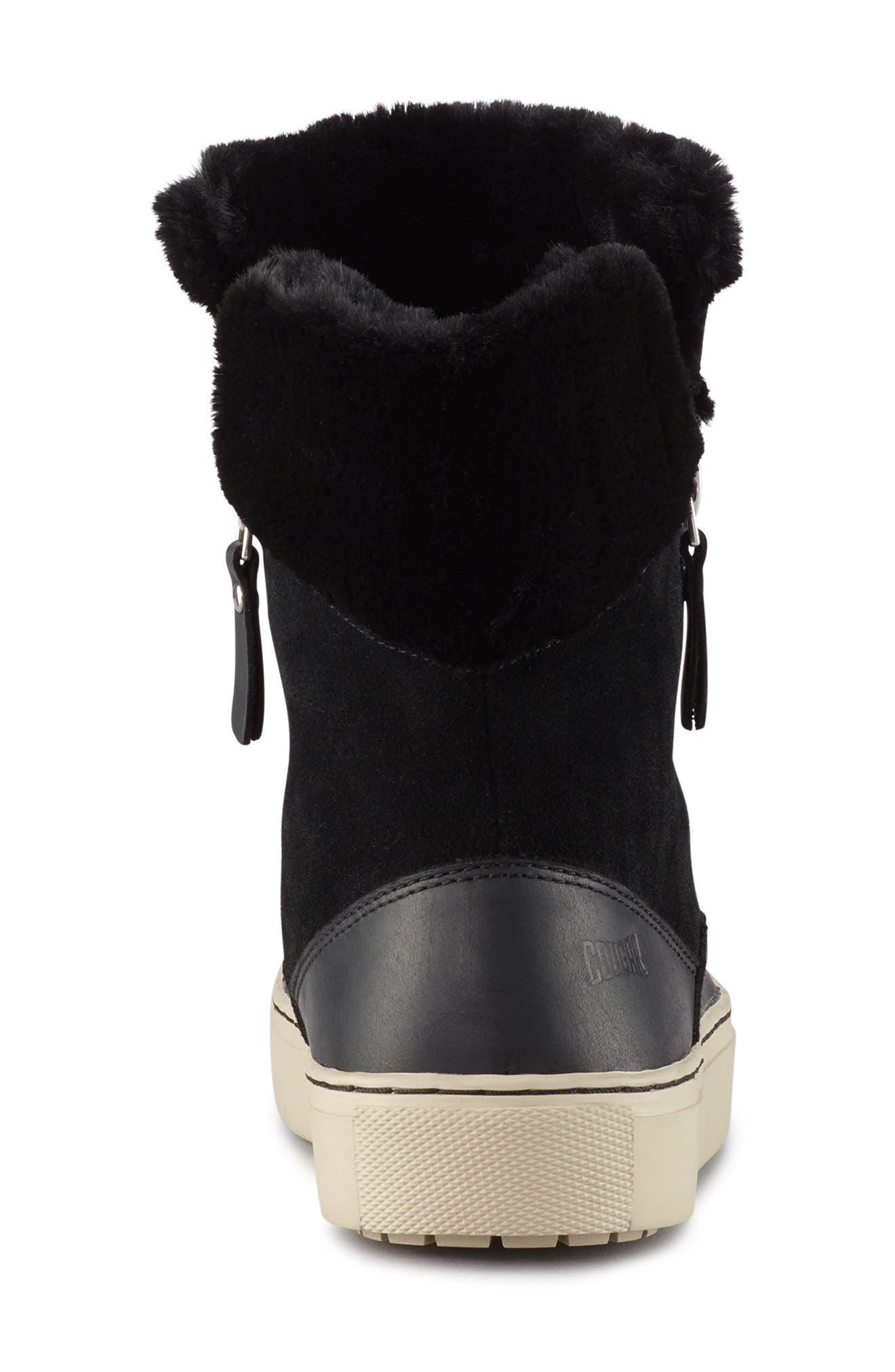 Dresden Waterproof Sneaker Boot with Faux Fur Trim,                             Alternate thumbnail 4, color,                             001
