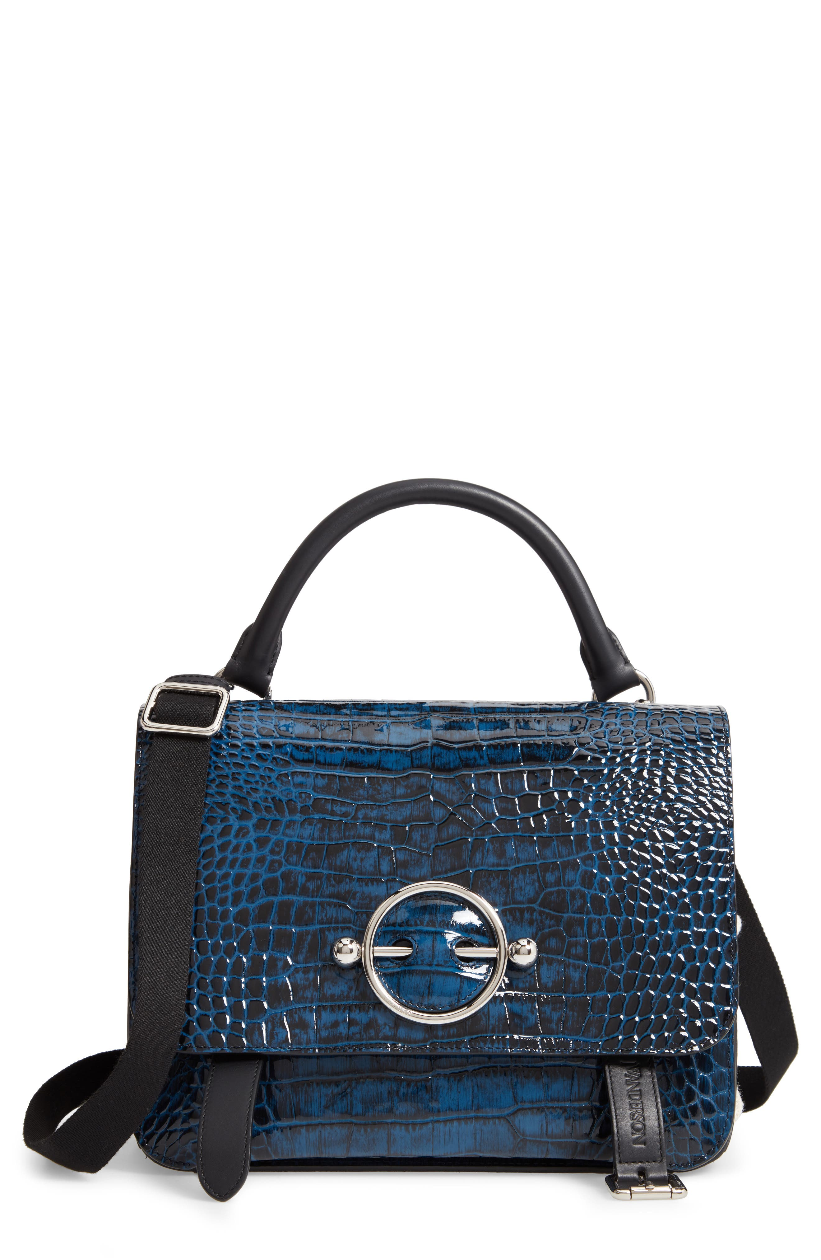 JW ANDERSON,                             Disc Embossed Leather Satchel,                             Main thumbnail 1, color,                             OCEAN