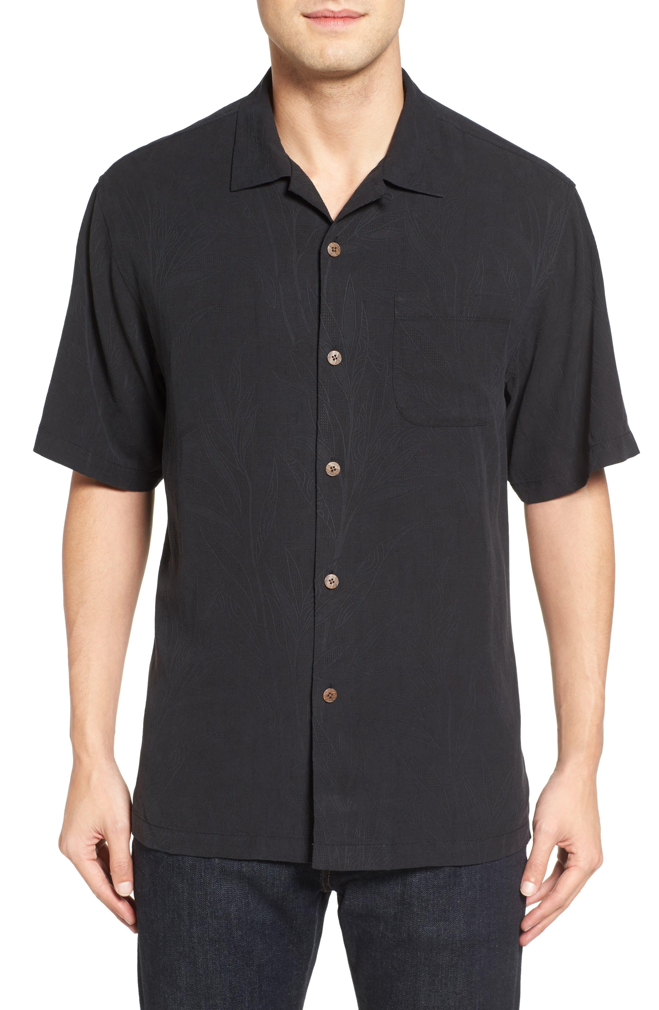 Islander Fronds Silk Camp Shirt,                             Main thumbnail 1, color,                             001