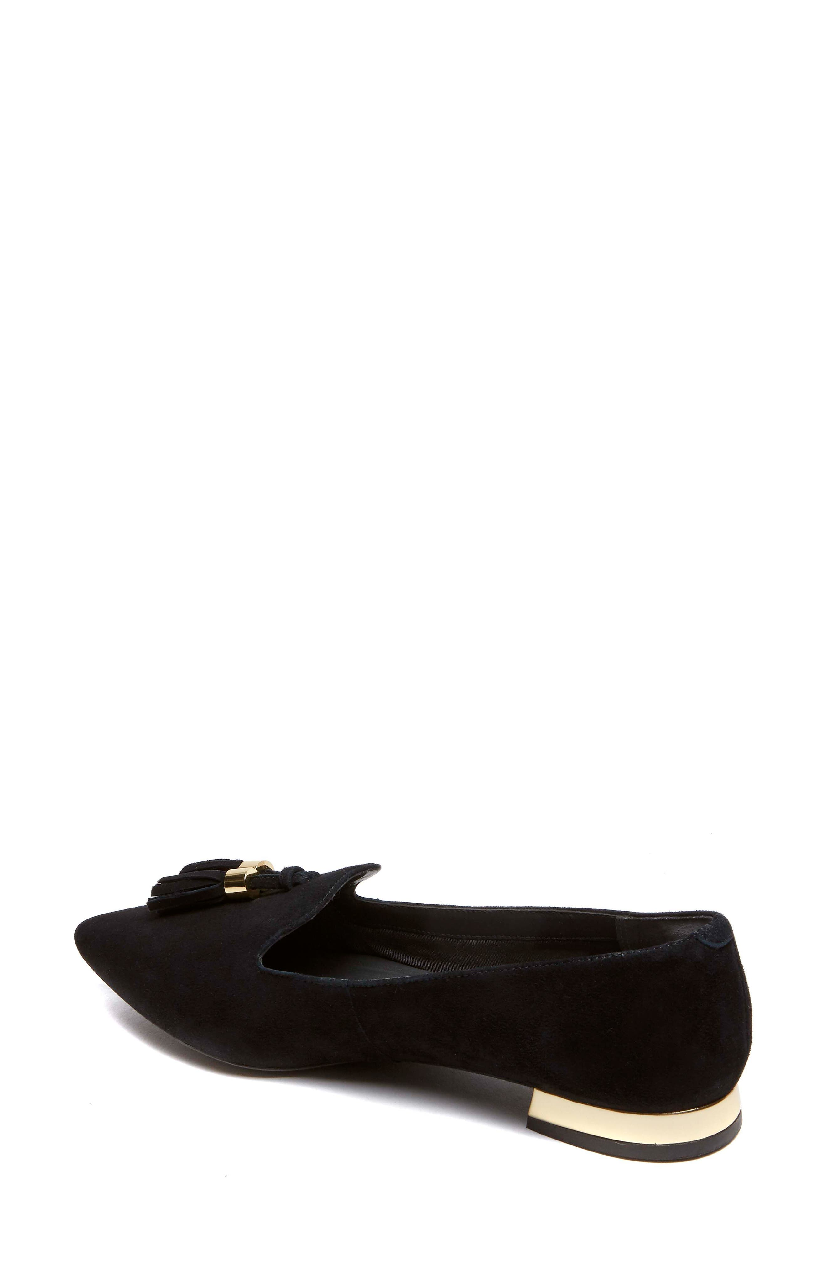 Total Motion Zuly Luxe Pointy Toe Loafer,                             Alternate thumbnail 2, color,                             BLACK SUEDE