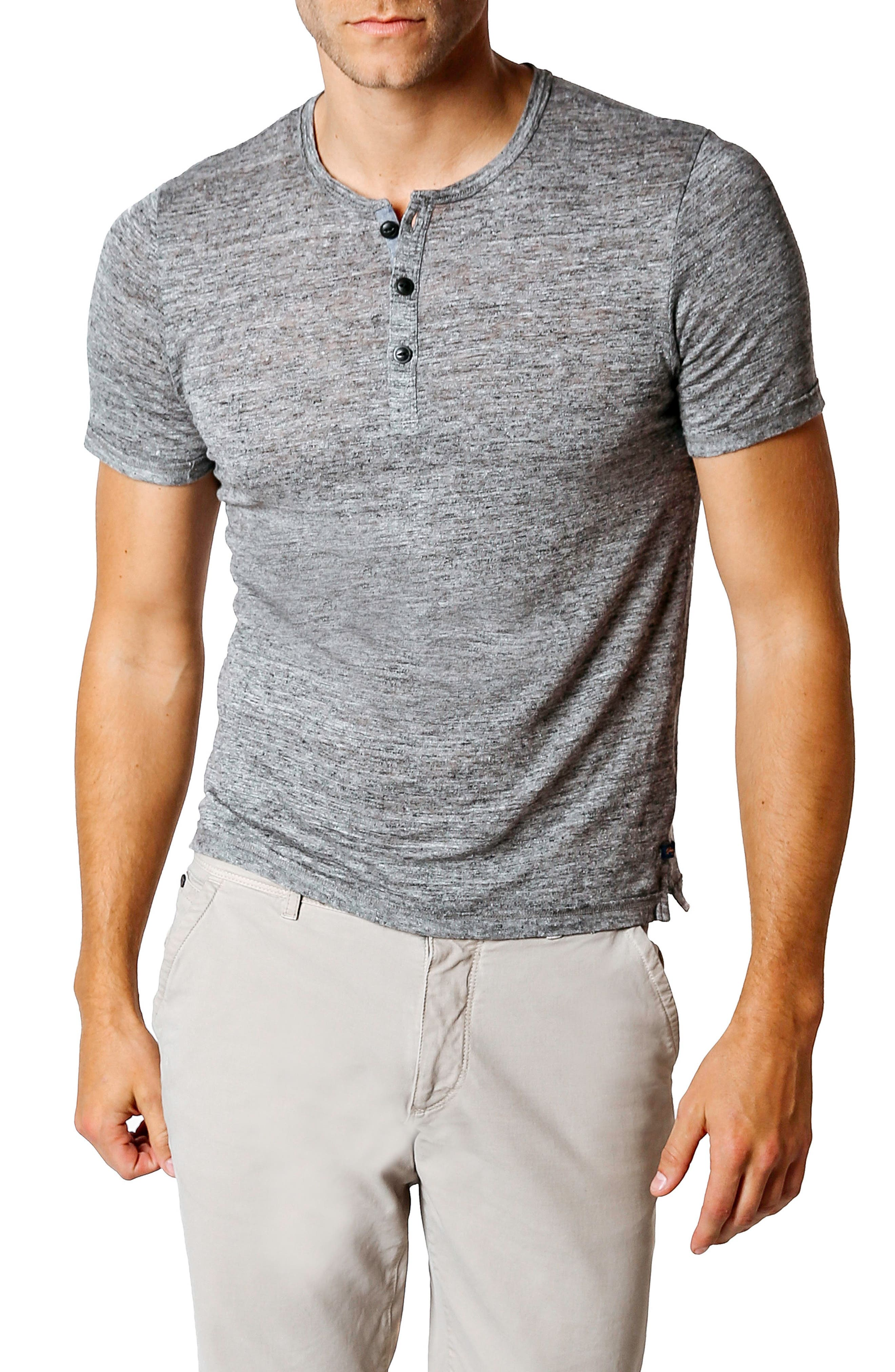 Trim Fit Heathered Jersey Henley,                         Main,                         color, GREY HEATHER