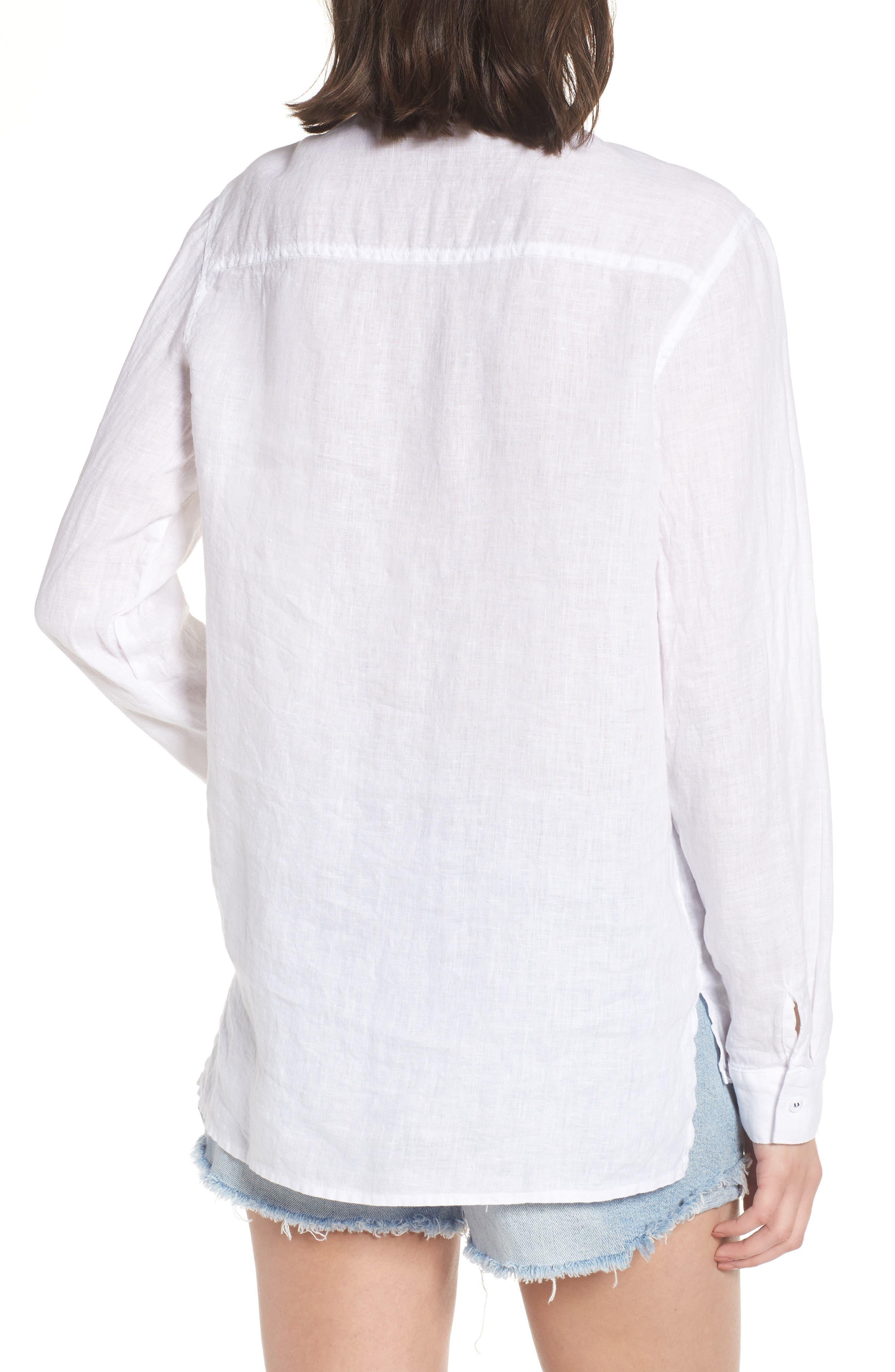 Linen Henley Shirt,                             Alternate thumbnail 2, color,                             100