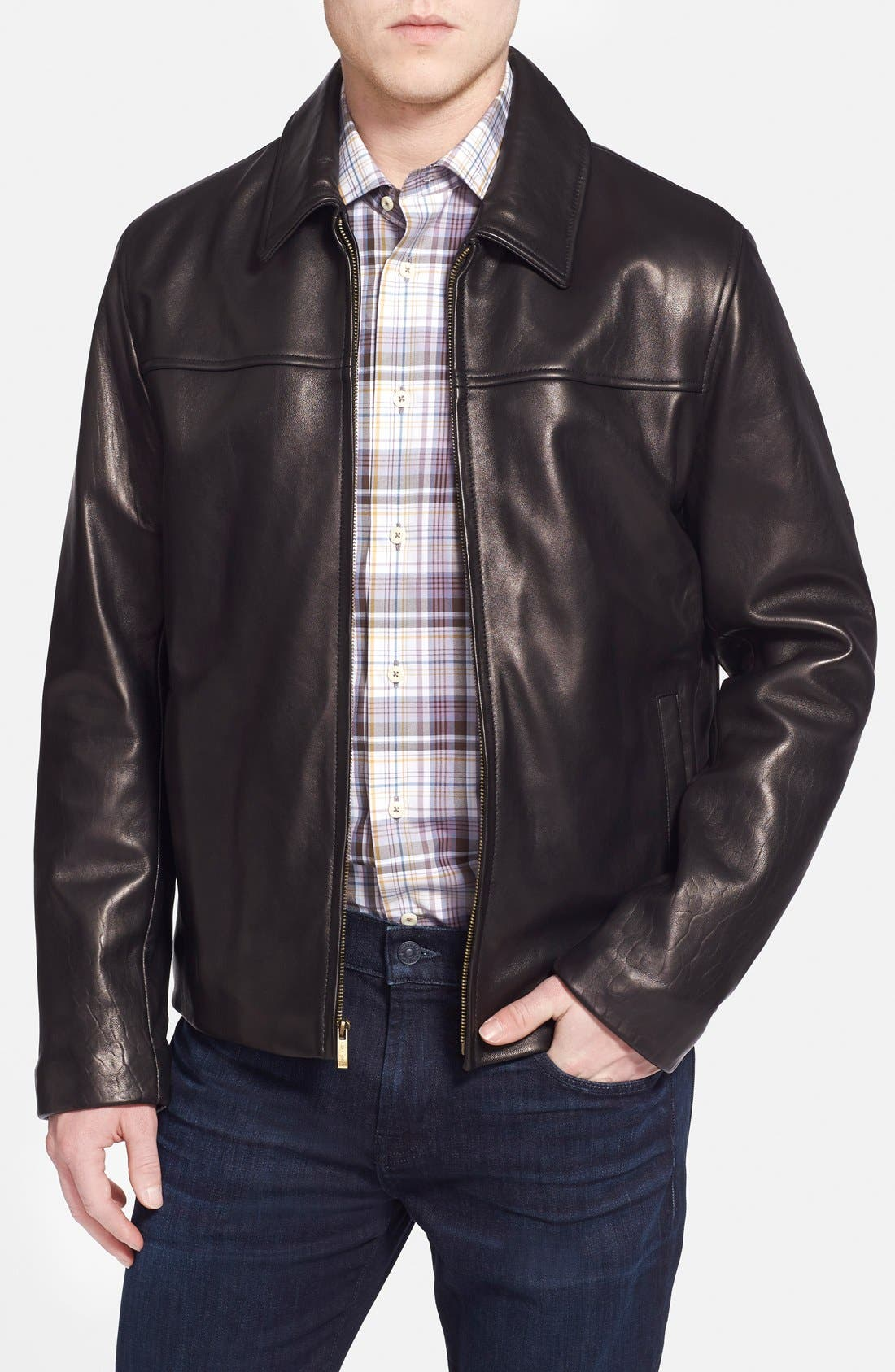 Lambskin Leather Jacket,                             Main thumbnail 1, color,