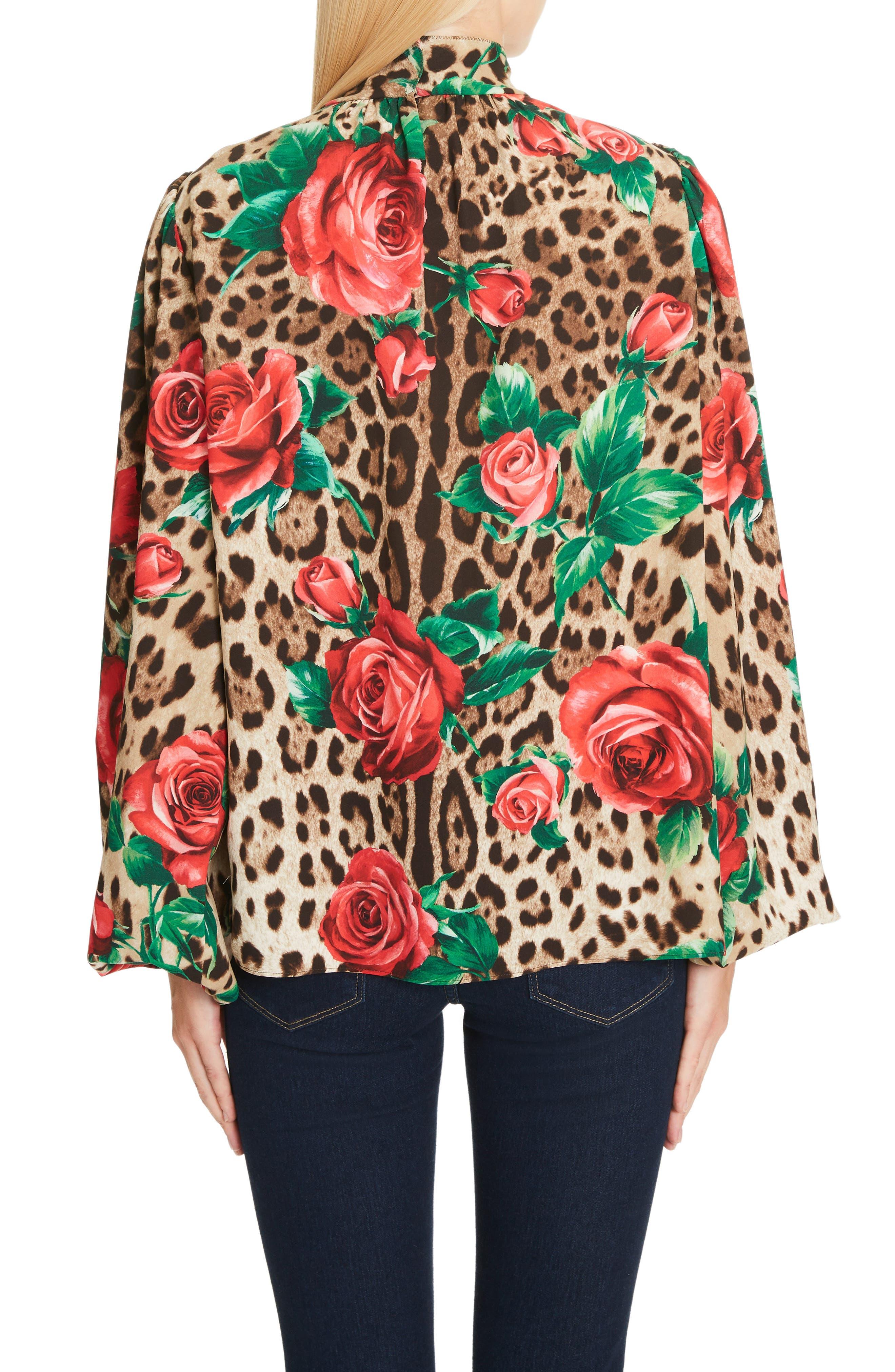 Rose & Leopard Print Tie Neck Stretch Silk Blouse,                             Alternate thumbnail 2, color,                             HKIRS ROSE LEO