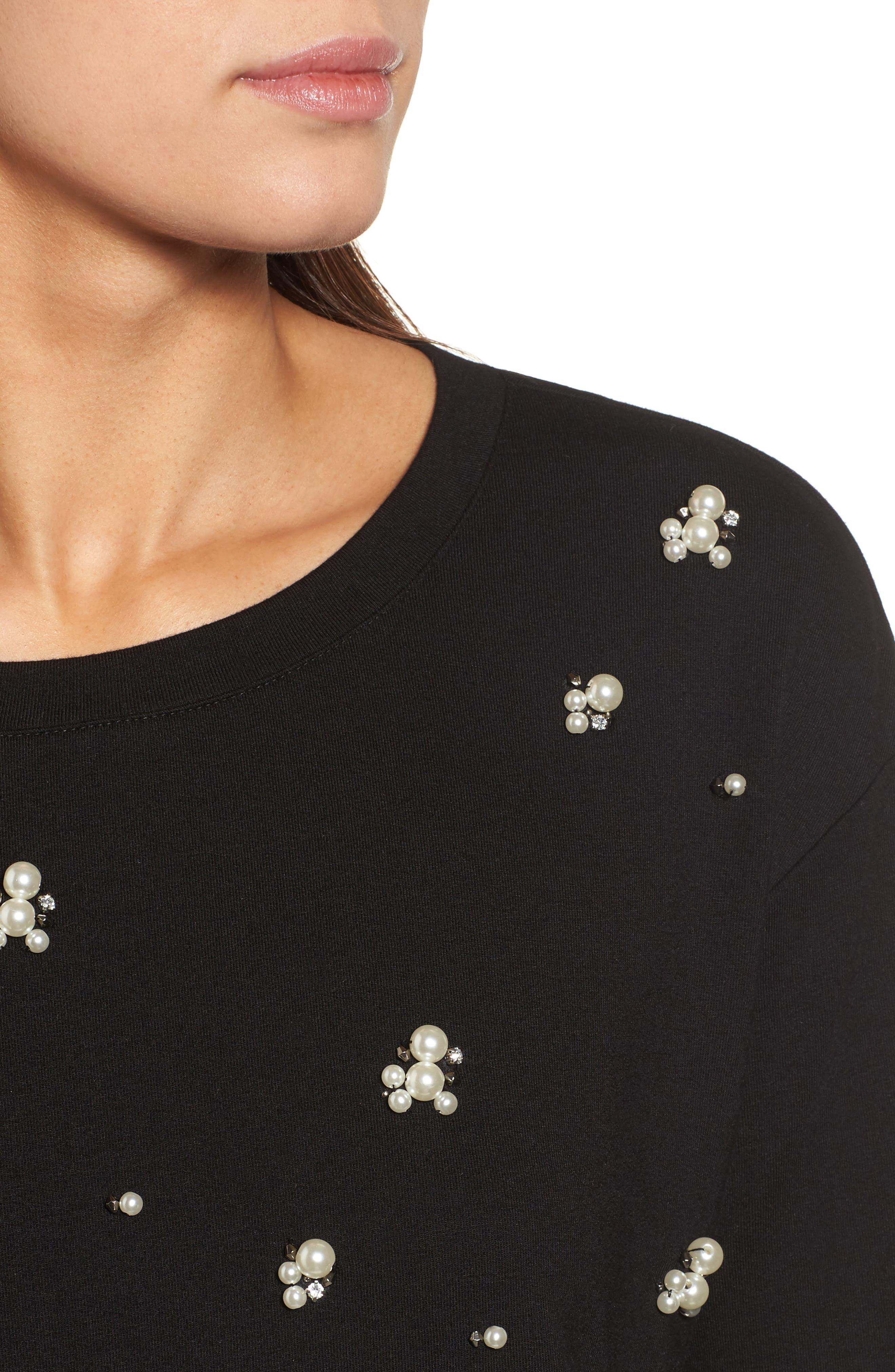 Embellished Sweatshirt,                             Alternate thumbnail 4, color,                             001