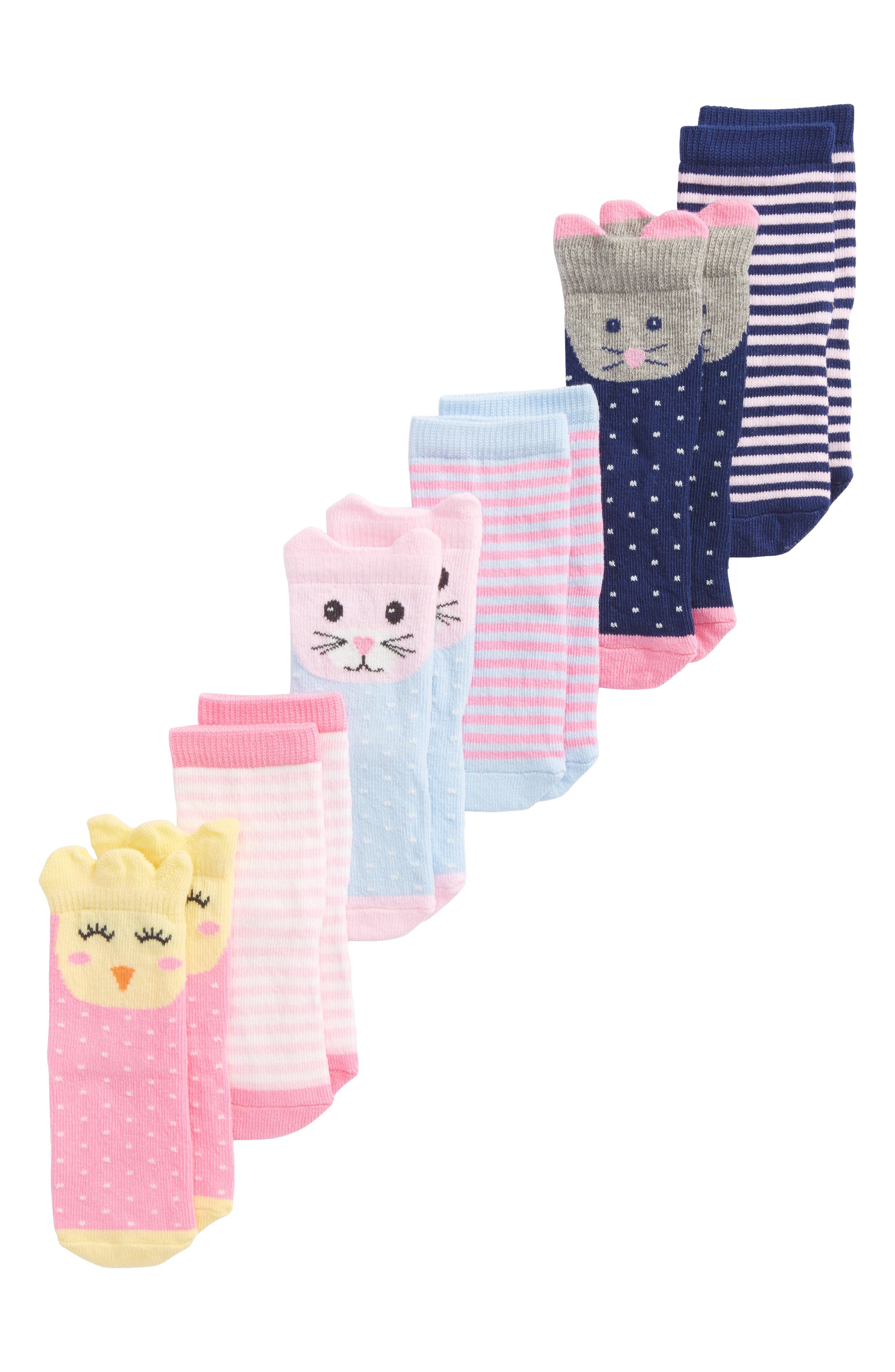 6-Pack Animal Socks,                         Main,                         color, GIRL ANIMAL PACK