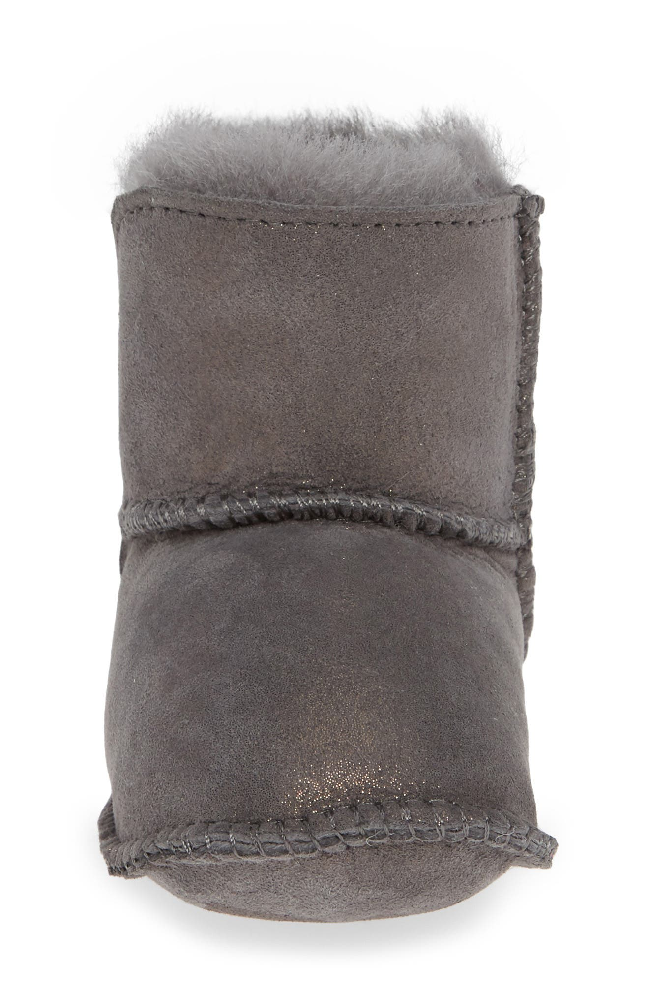 Water Resistant Metallic Bootie,                             Alternate thumbnail 4, color,                             CHARCOAL