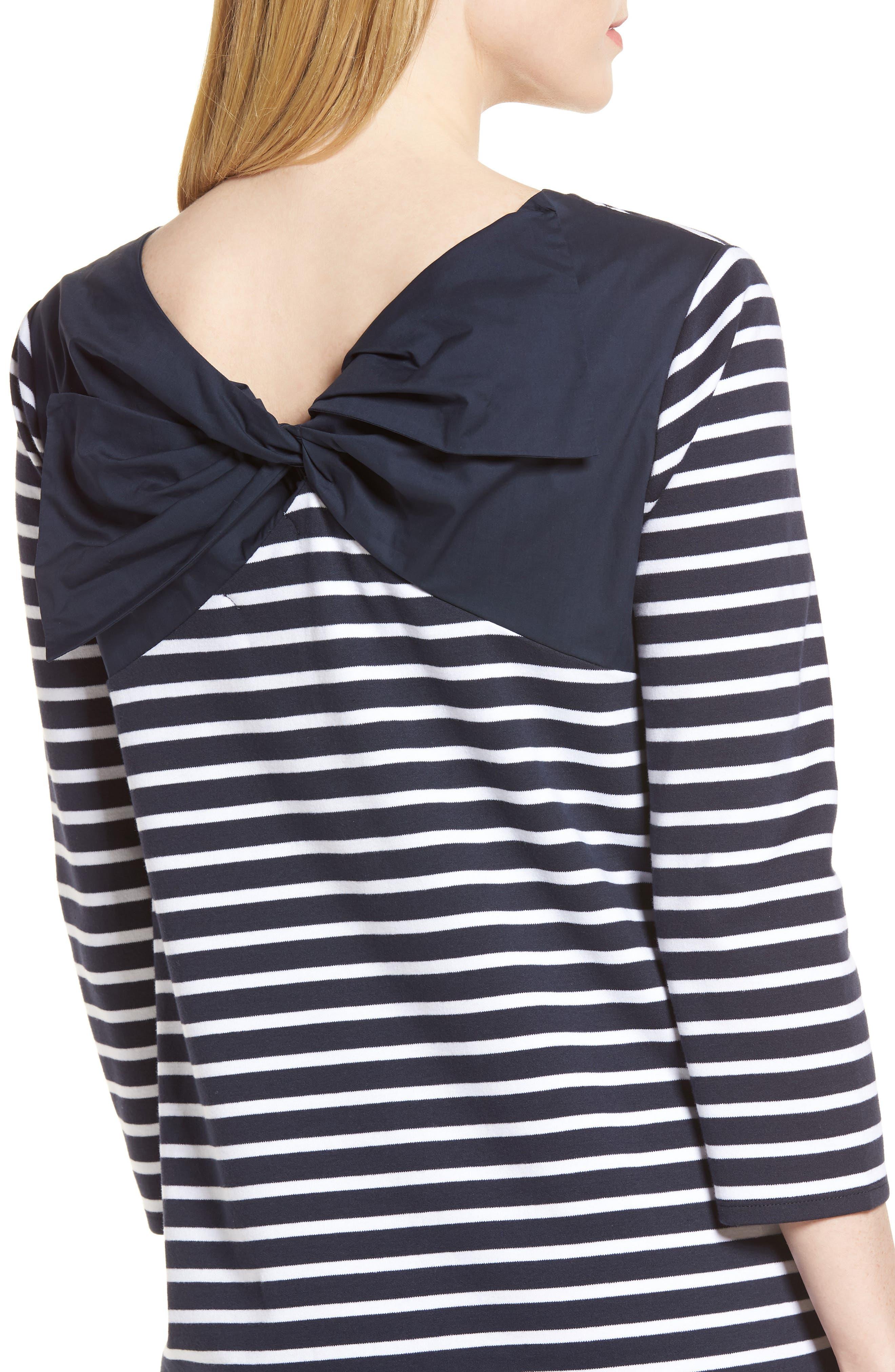 Bow Back Stripe Knit Dress,                             Alternate thumbnail 4, color,                             410