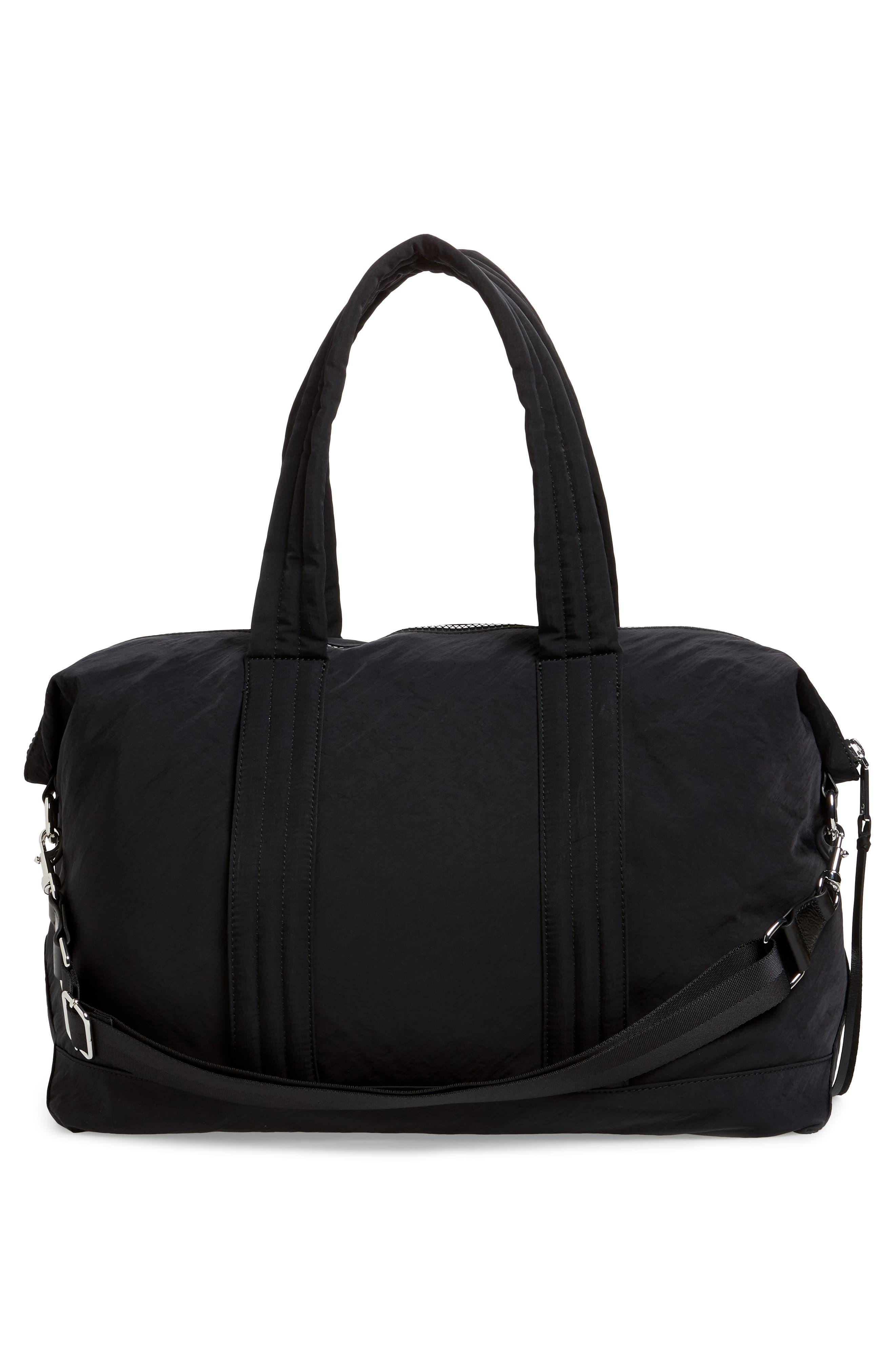 Weekend Nylon Duffel Bag,                             Alternate thumbnail 3, color,                             BLACK
