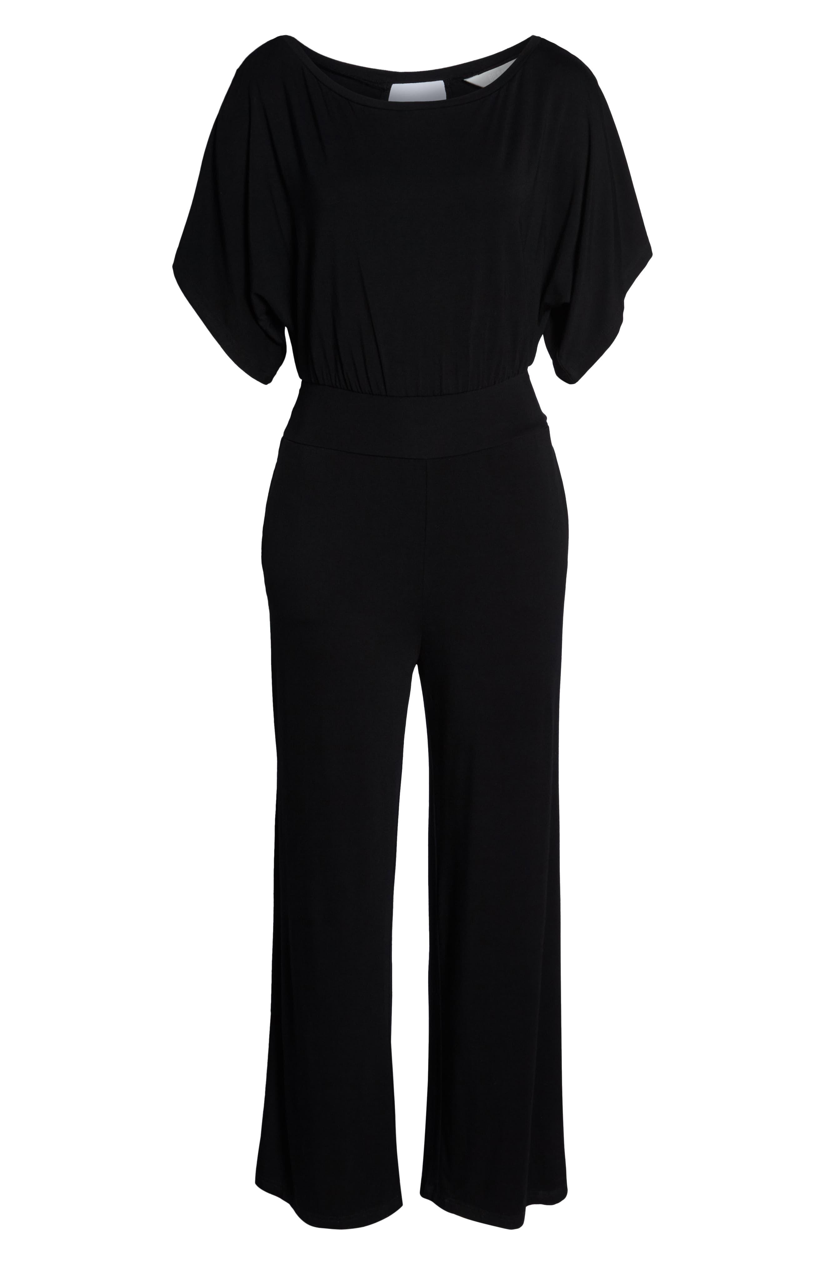 Hottie Off Duty Split Sleeve Jumpsuit,                             Alternate thumbnail 6, color,                             BLACK
