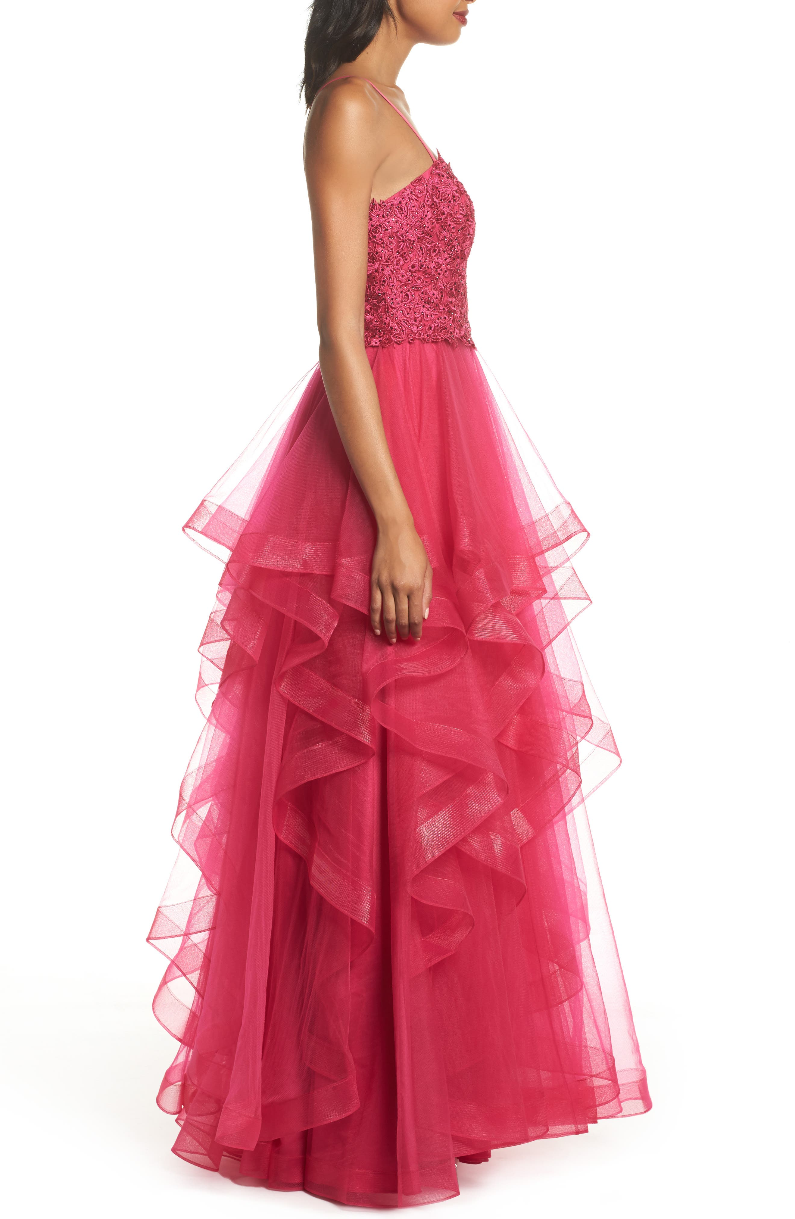 Lace & Tiered Tulle Ballgown,                             Alternate thumbnail 3, color,                             HOT FUCHSIA