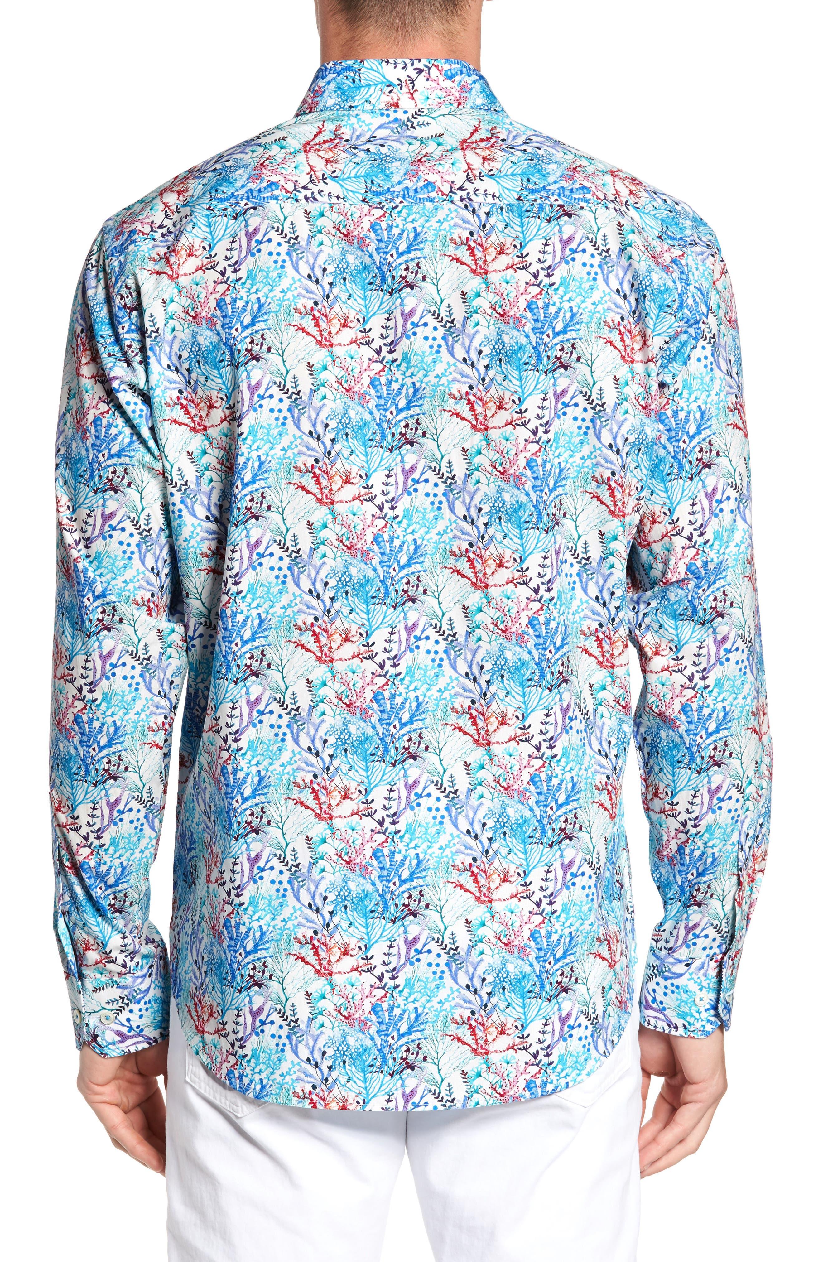 BUGATCHI,                             Classic Fit Floral Print Sport Shirt,                             Alternate thumbnail 2, color,                             425