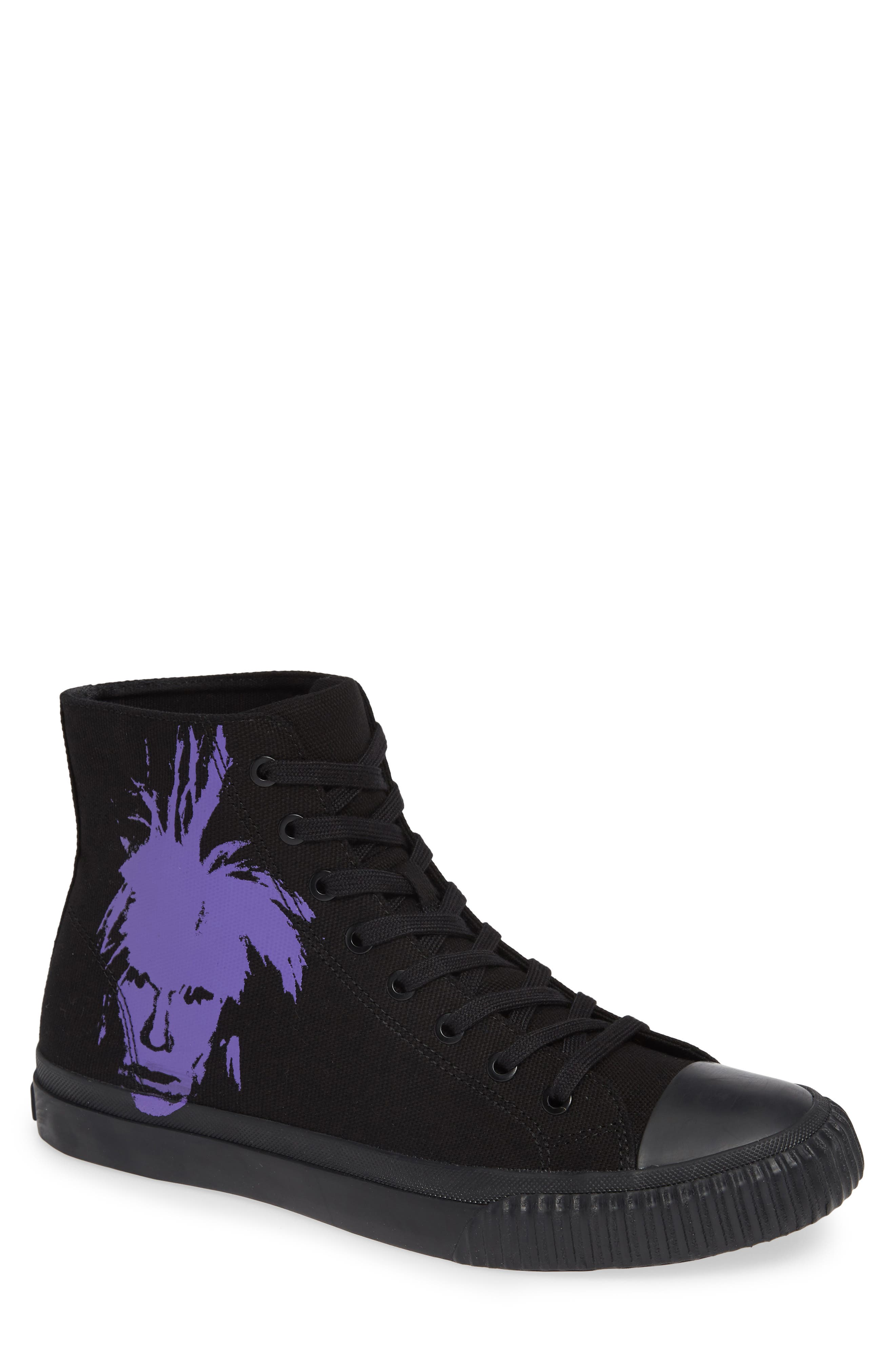 Iconic Warhol Sneaker,                         Main,                         color, BLACK/ PURPLE