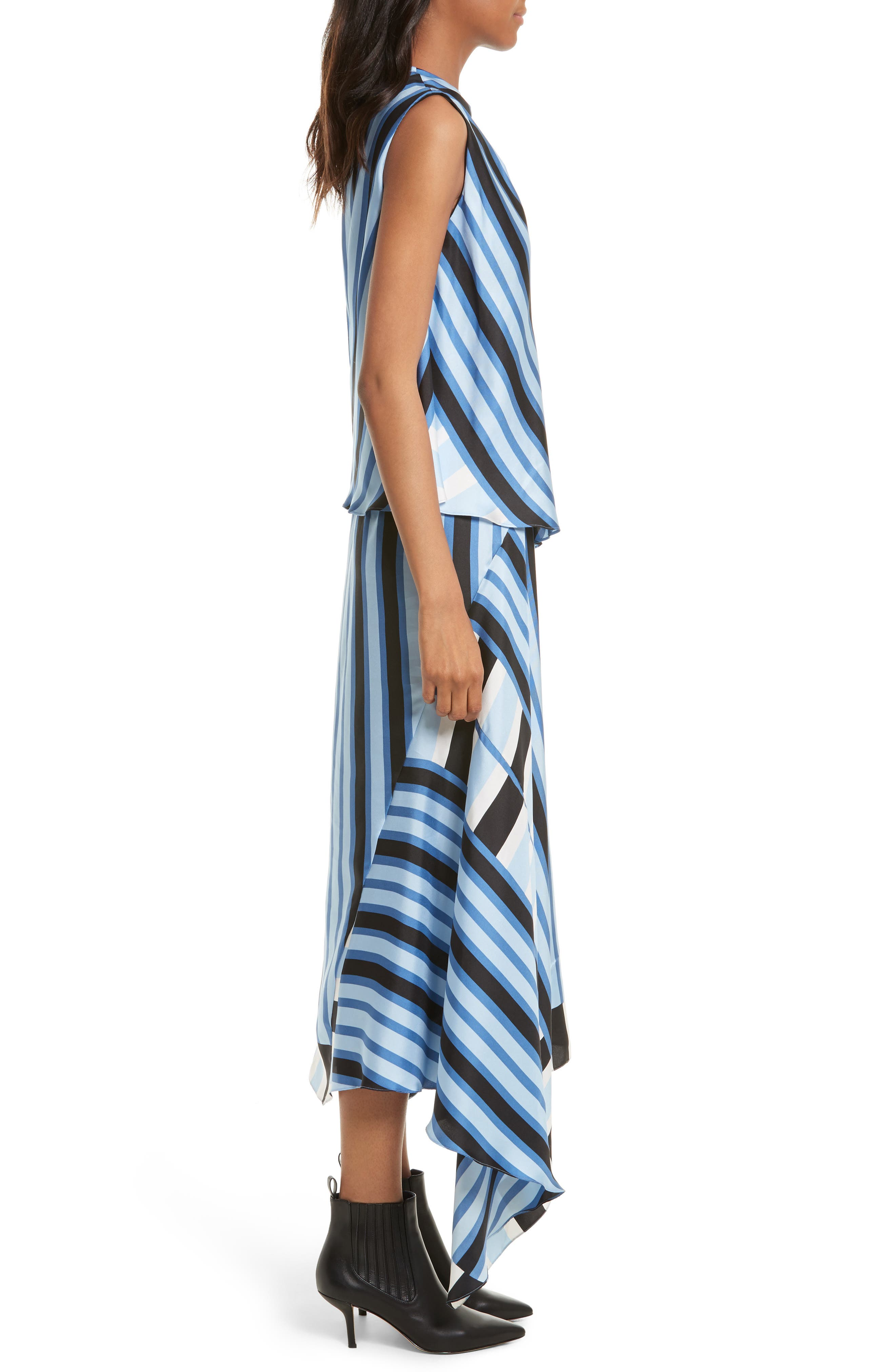 Asymmetrical Stripe Silk Maxi Dress,                             Alternate thumbnail 3, color,                             451