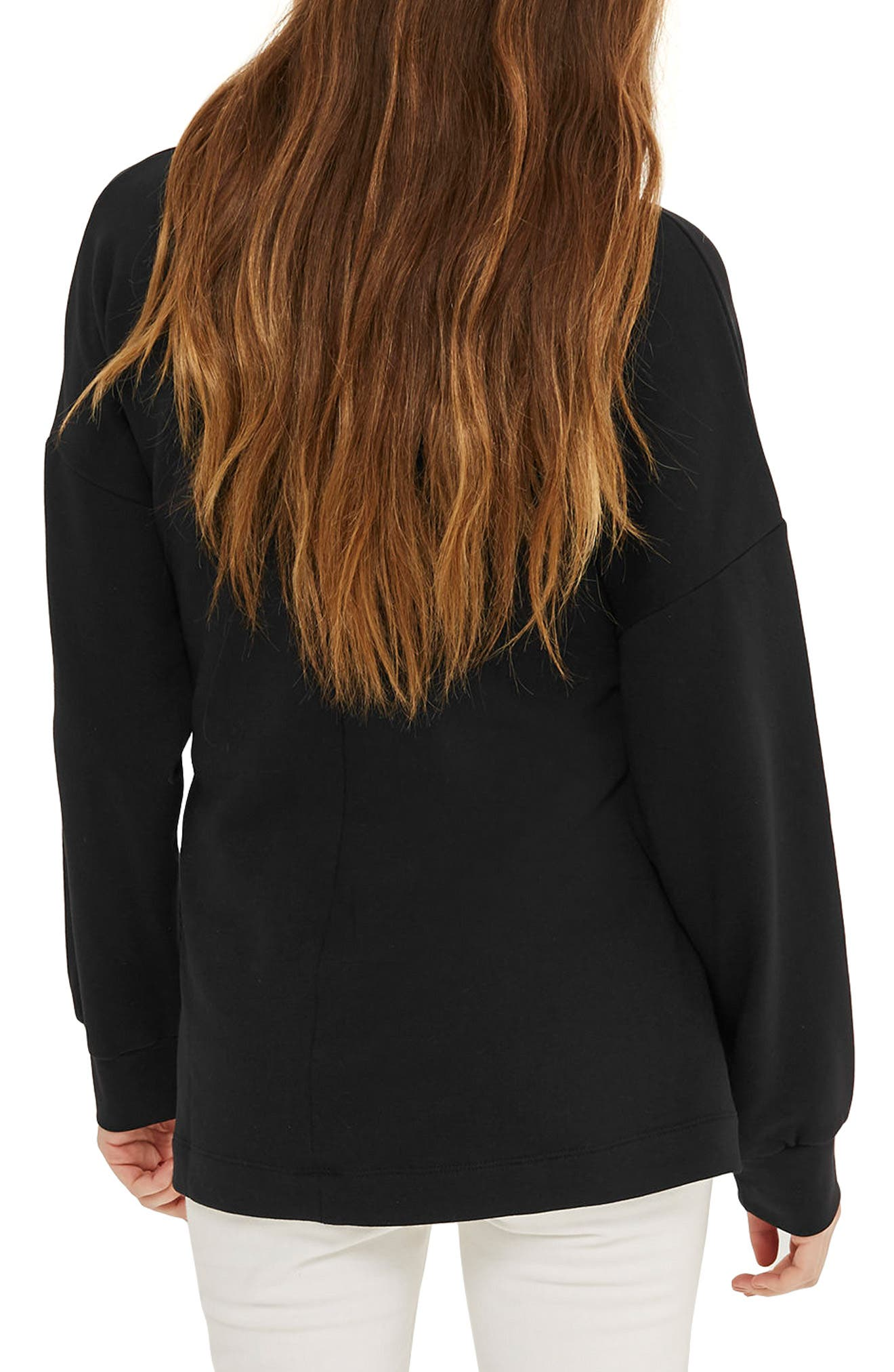 Cutout Belted Sweater,                             Alternate thumbnail 2, color,                             001