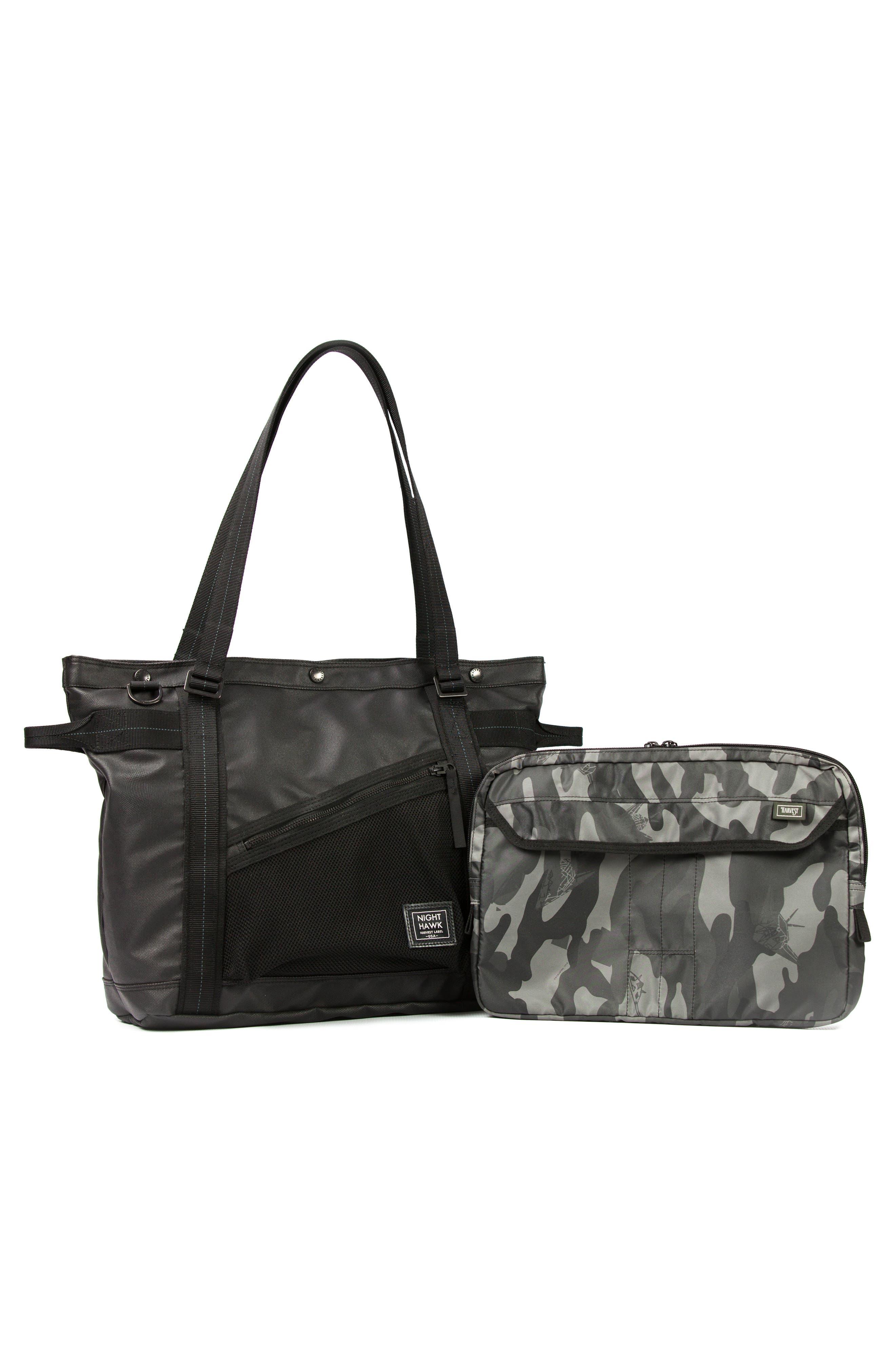 'NightHawk' Tote Bag,                             Alternate thumbnail 4, color,                             BLACK