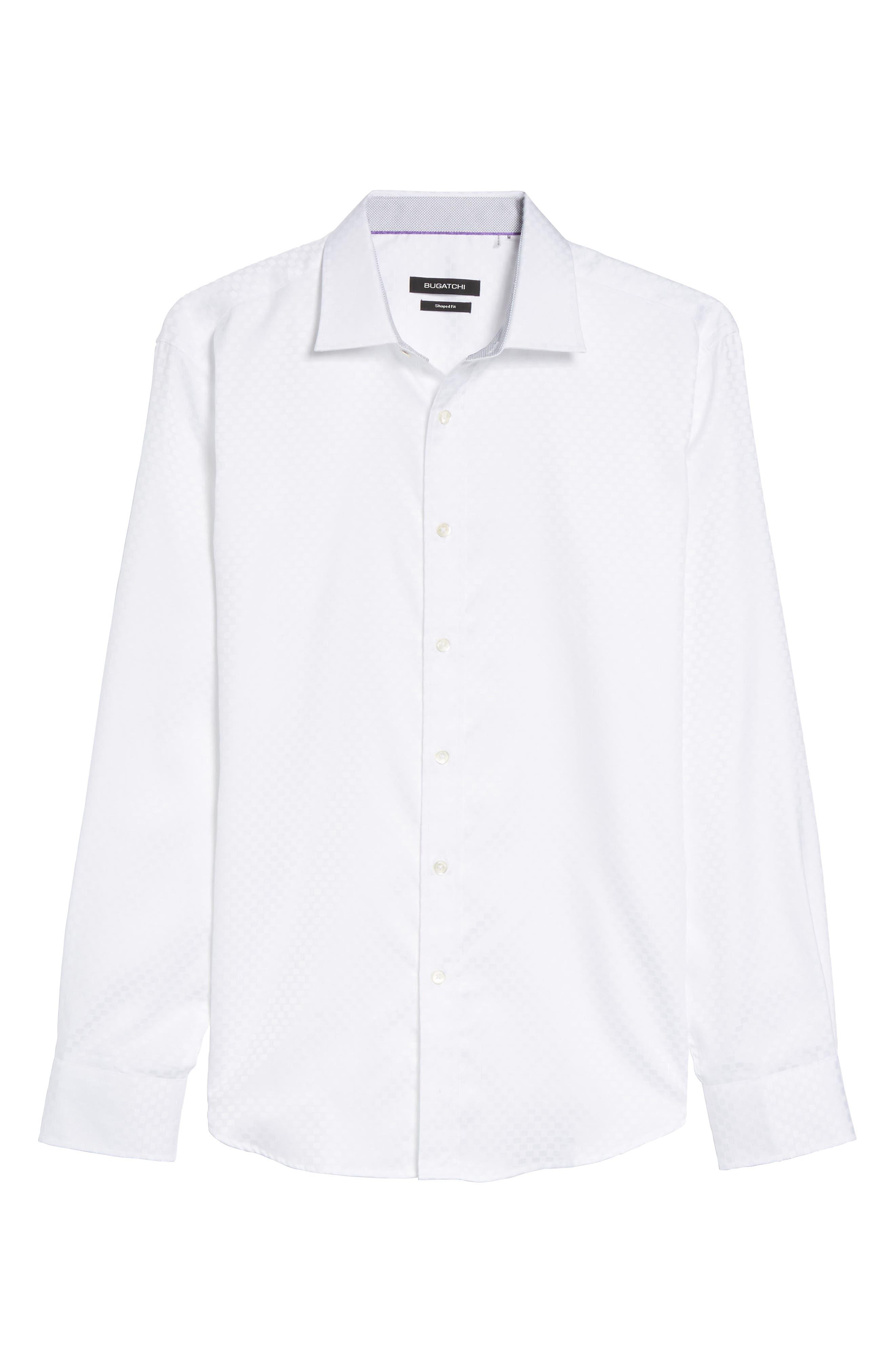 Shaped Fit Rectangle Jacquard Sport Shirt,                             Alternate thumbnail 15, color,