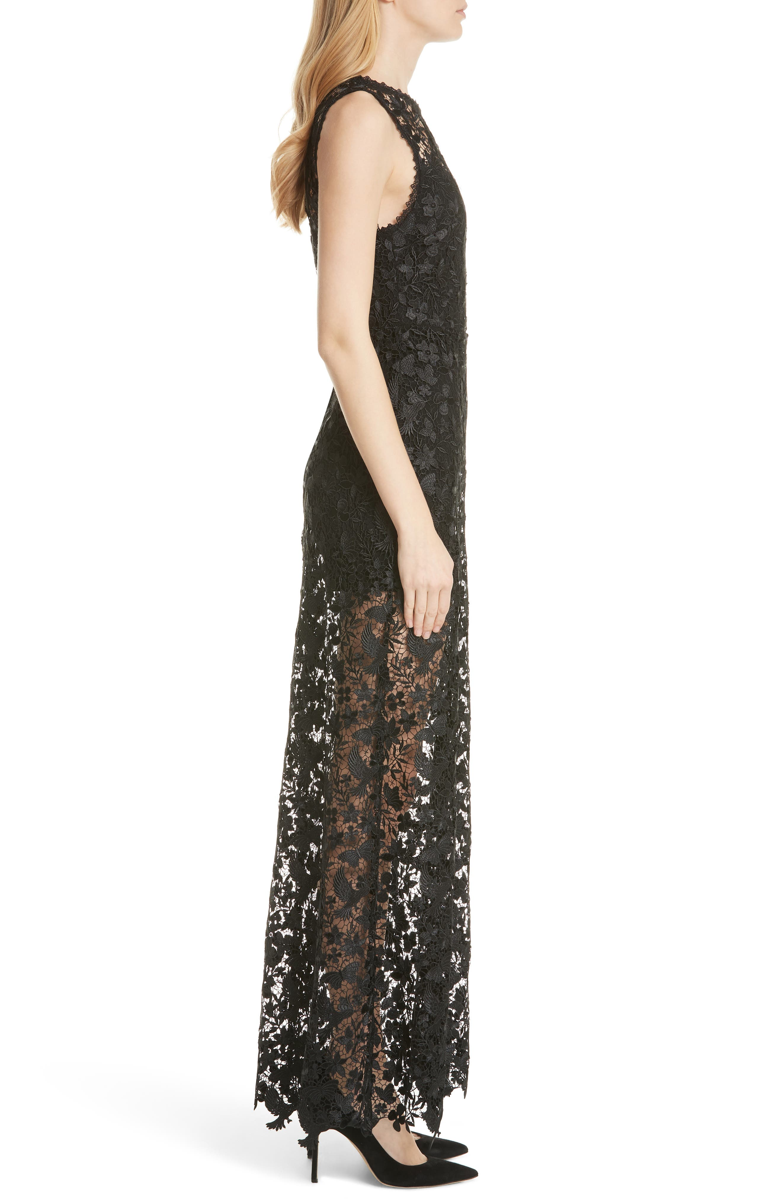 ALICE + OLIVIA,                             Danielle Silk Lace Overlay Sheer Maxi Dress,                             Alternate thumbnail 3, color,                             001