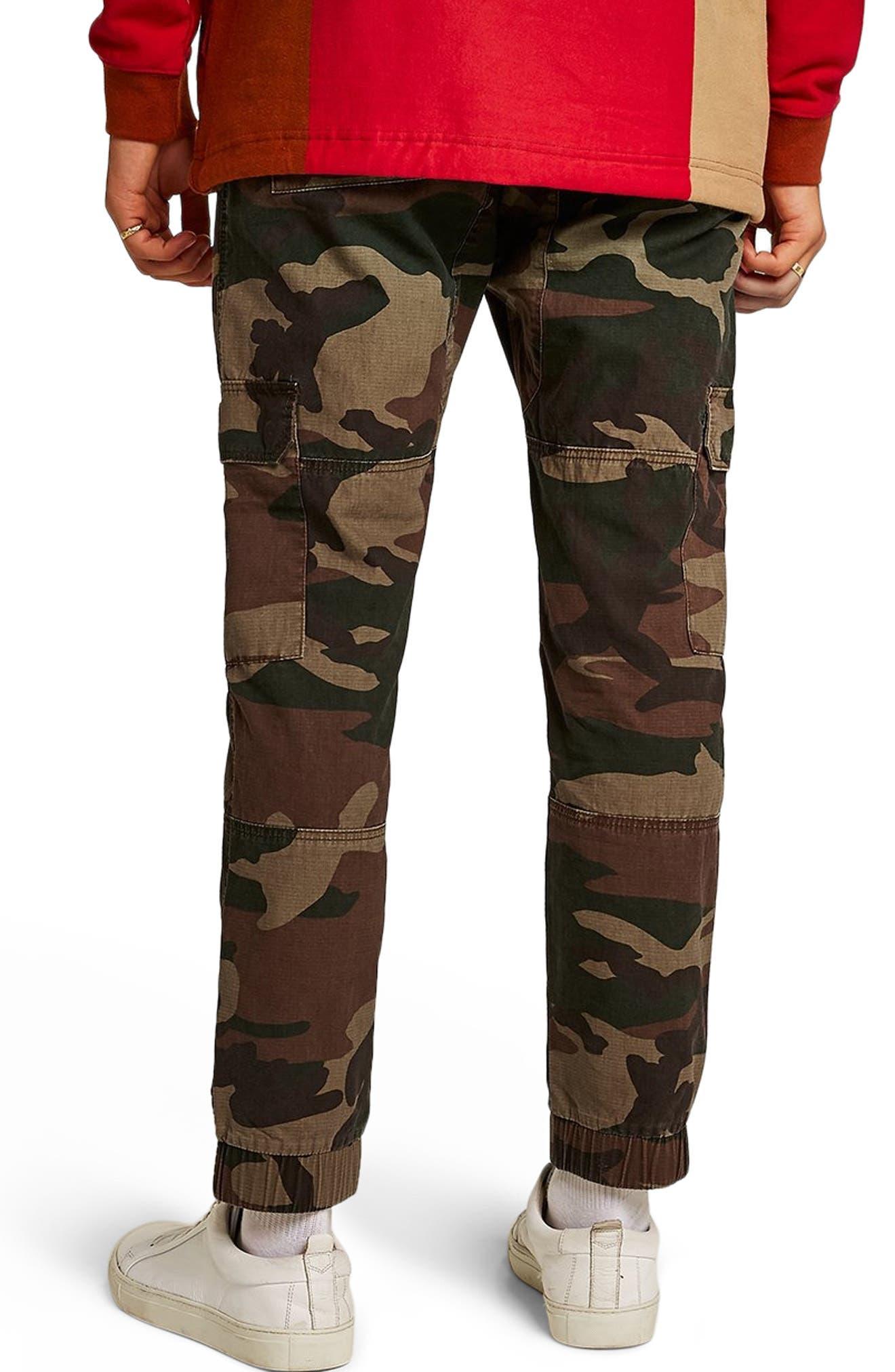 Skinny Fit Camo Cargo Pants,                             Alternate thumbnail 2, color,                             GREEN MULTI