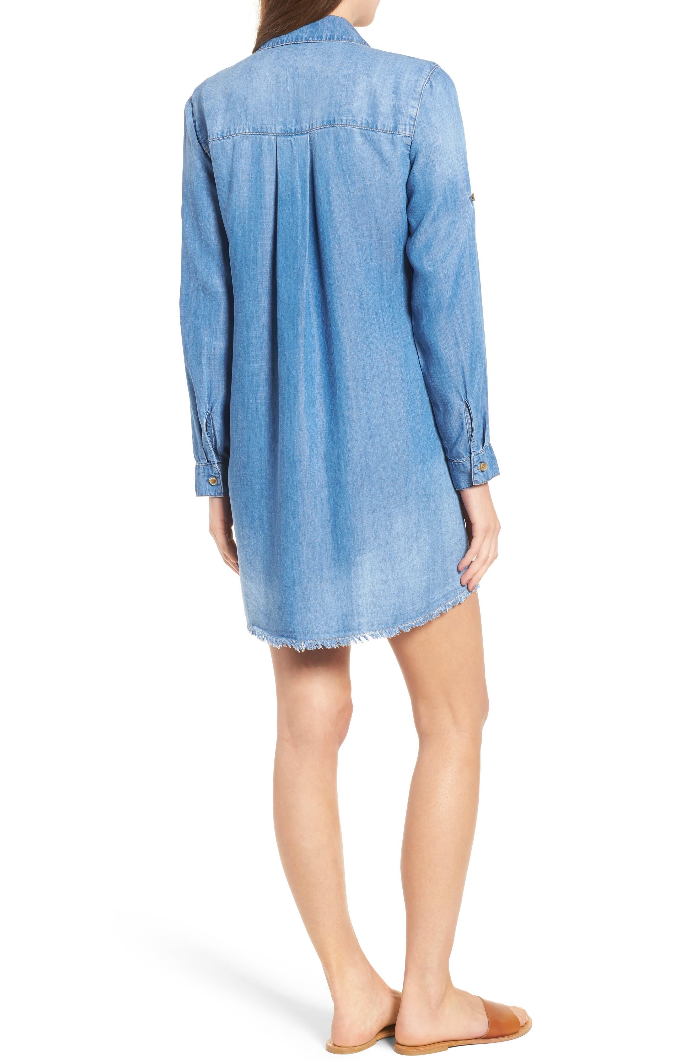 Frayed Hem Denim Shirtdress,                             Alternate thumbnail 2, color,                             496