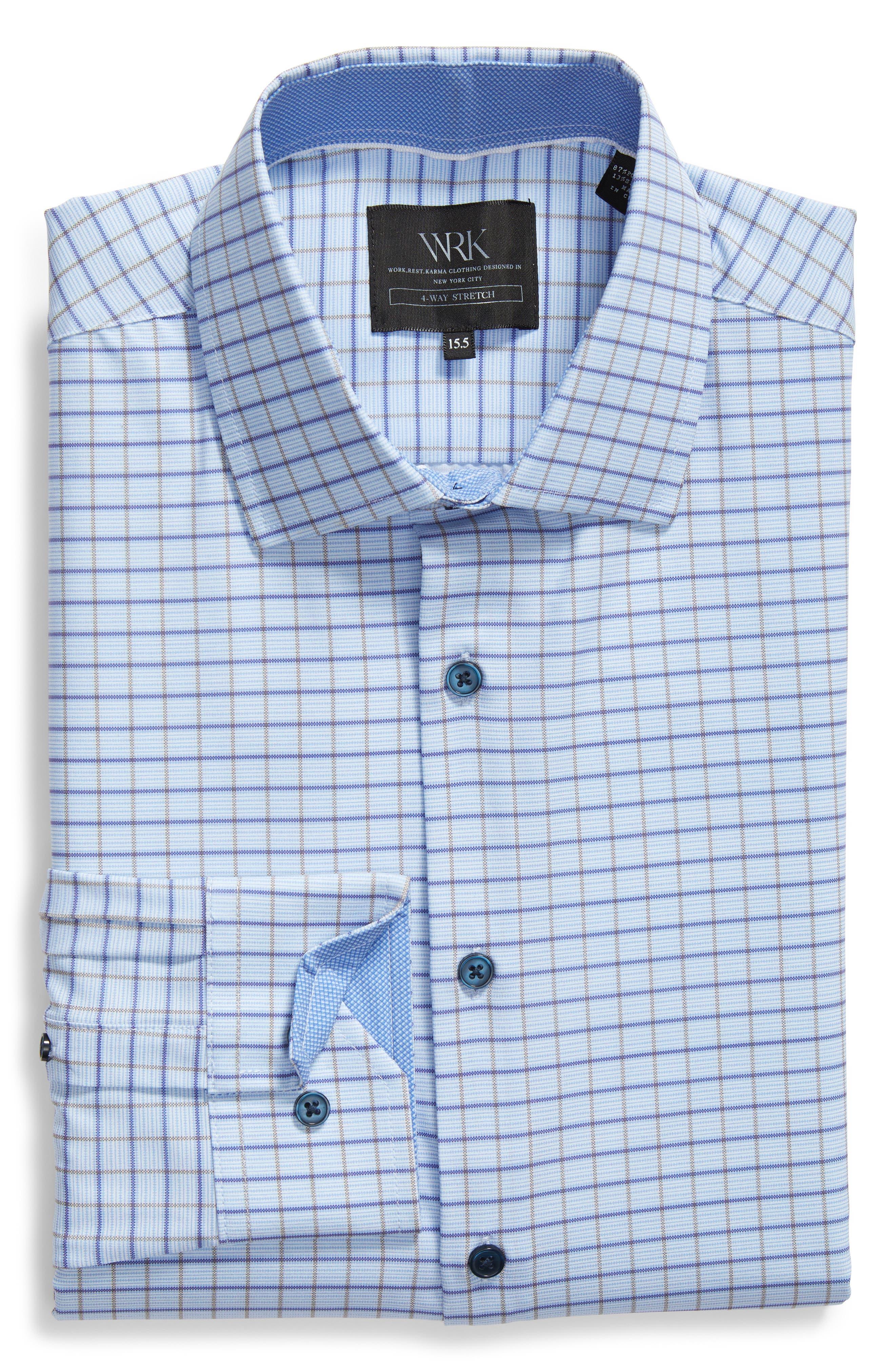 Trim Fit Check 4-Way Stretch Dress Shirt,                             Alternate thumbnail 5, color,                             BLUE