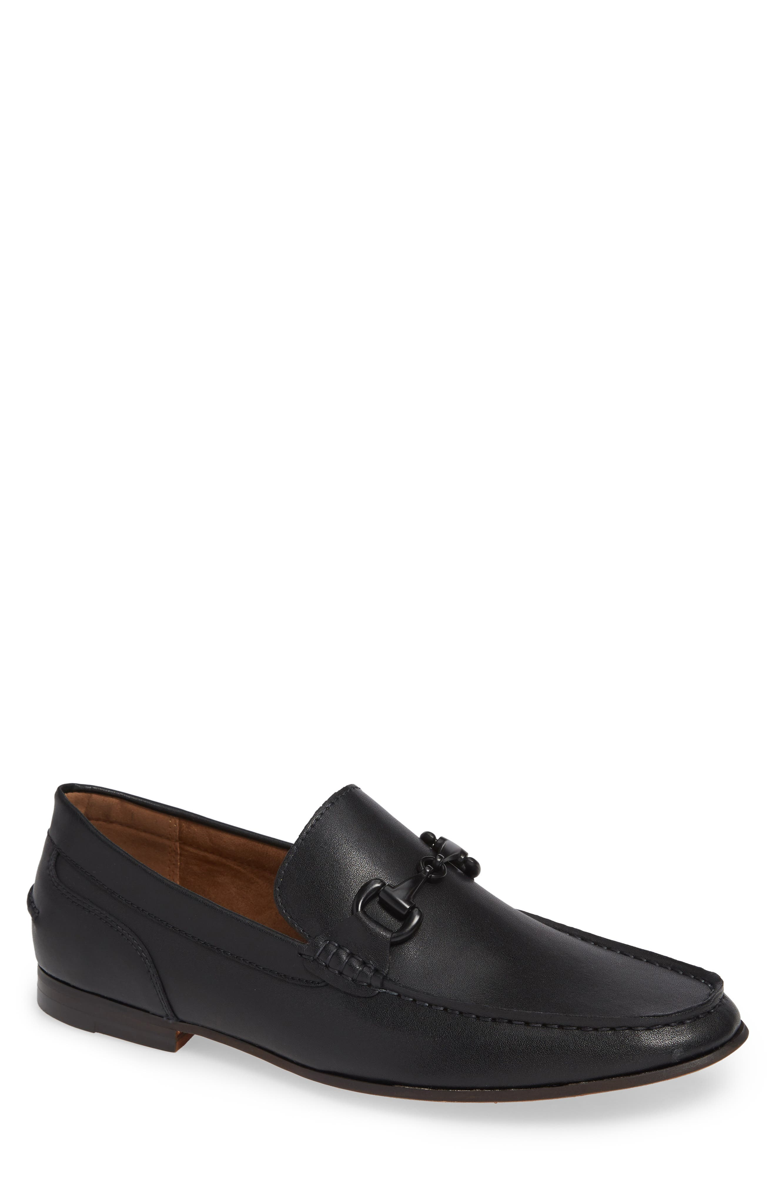 Crespo Loafer,                             Main thumbnail 1, color,                             BLACK SYNTHETIC LEATHER